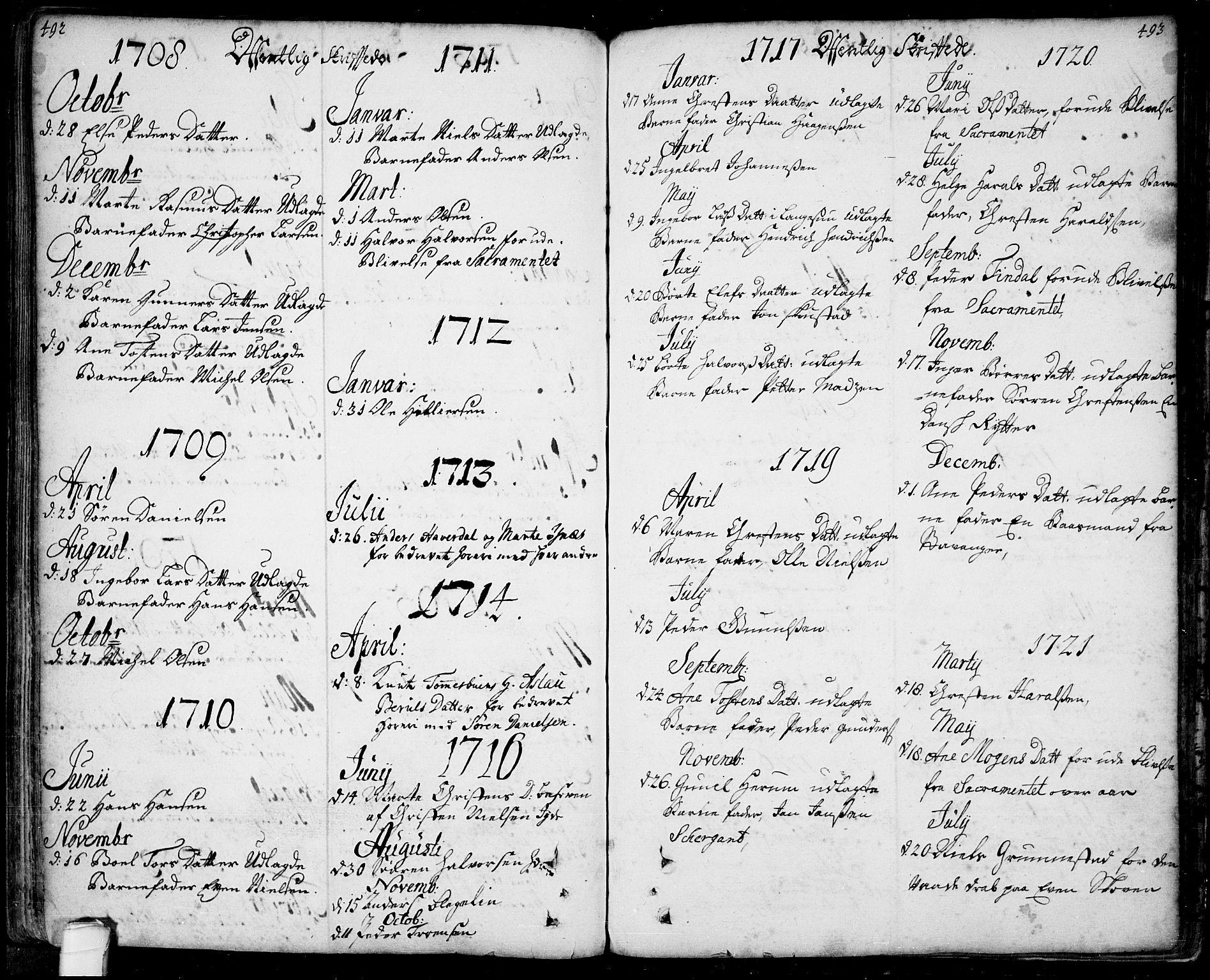 SAKO, Bamble kirkebøker, F/Fa/L0001: Ministerialbok nr. I 1, 1702-1774, s. 492-493