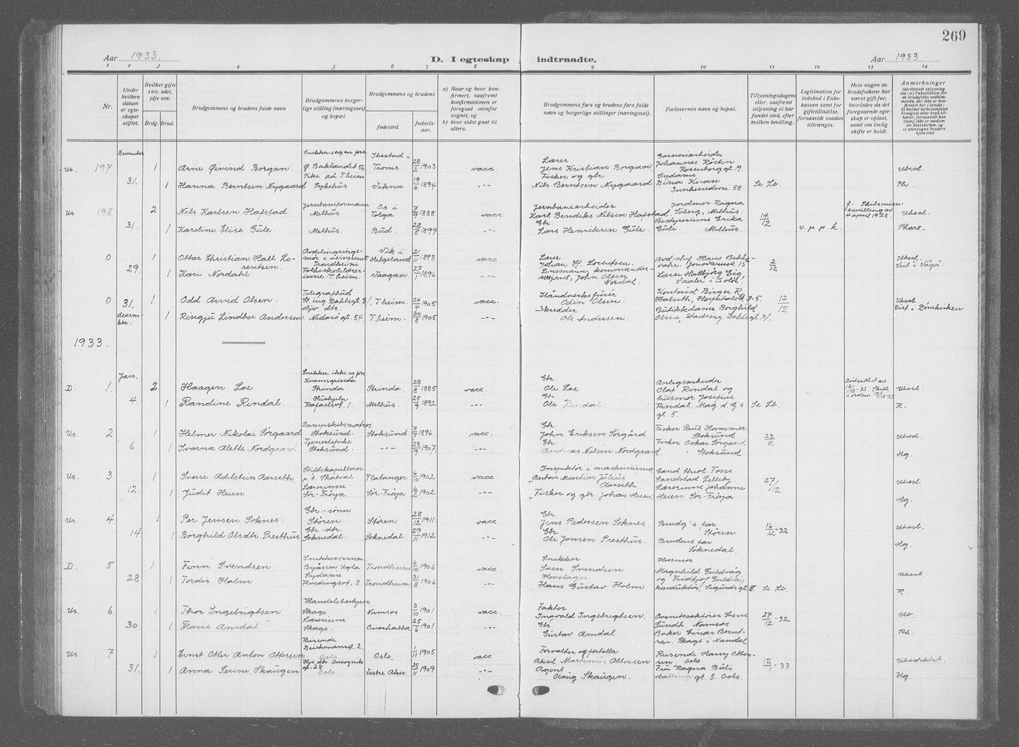 SAT, Ministerialprotokoller, klokkerbøker og fødselsregistre - Sør-Trøndelag, 601/L0098: Klokkerbok nr. 601C16, 1921-1934, s. 269