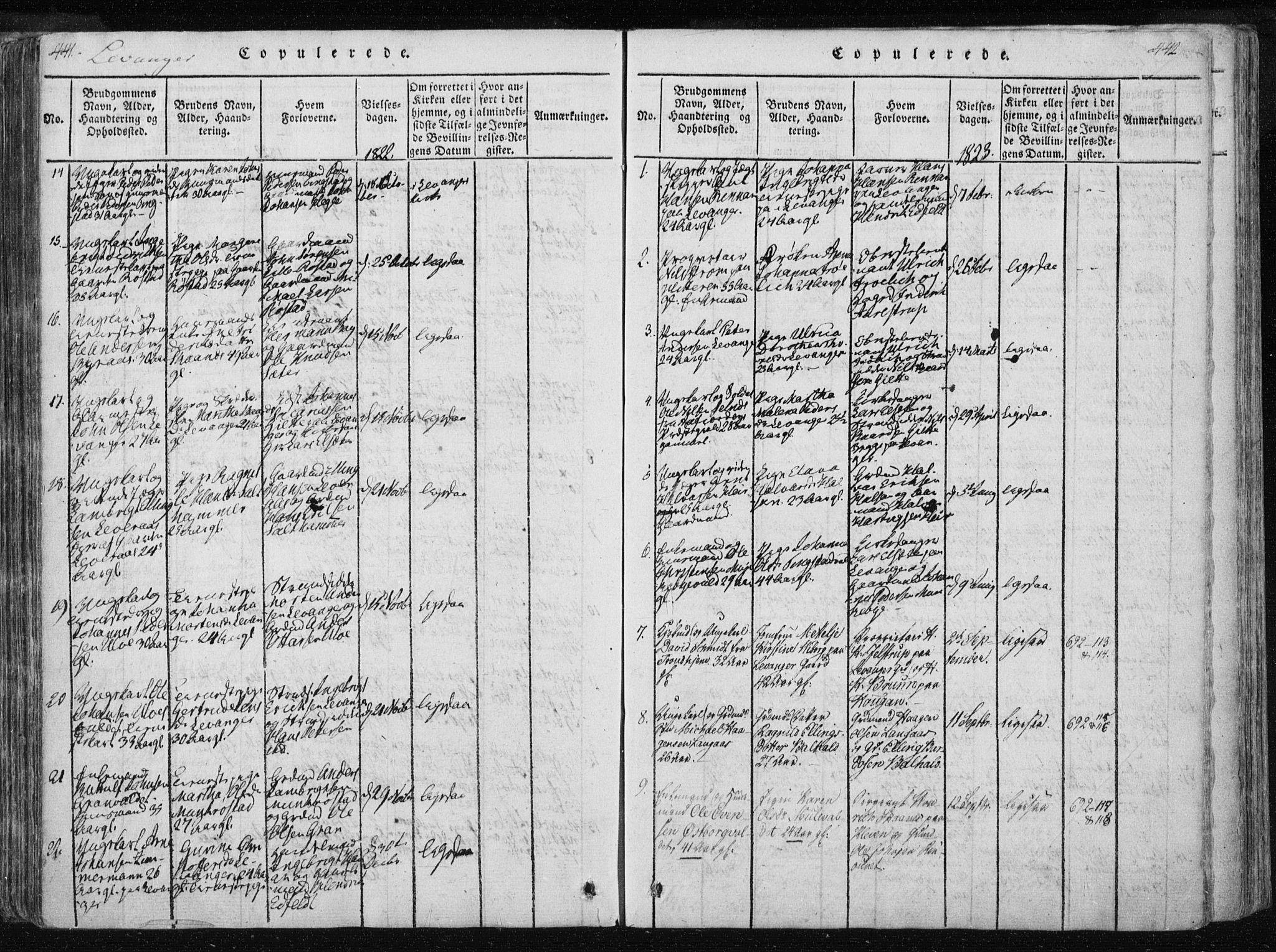 SAT, Ministerialprotokoller, klokkerbøker og fødselsregistre - Nord-Trøndelag, 717/L0148: Ministerialbok nr. 717A04 /2, 1816-1825, s. 441-442