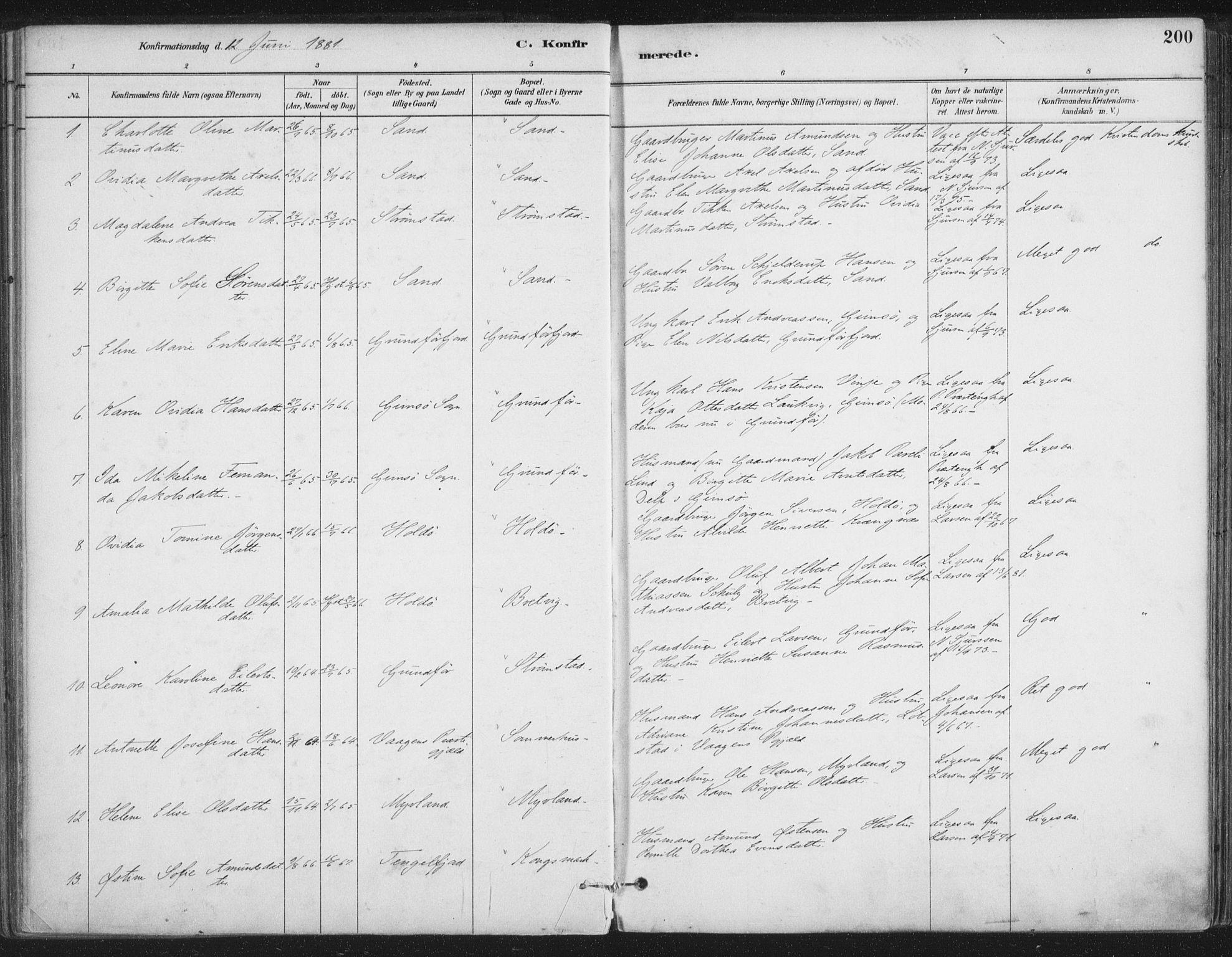SAT, Ministerialprotokoller, klokkerbøker og fødselsregistre - Nordland, 888/L1244: Ministerialbok nr. 888A10, 1880-1890, s. 200