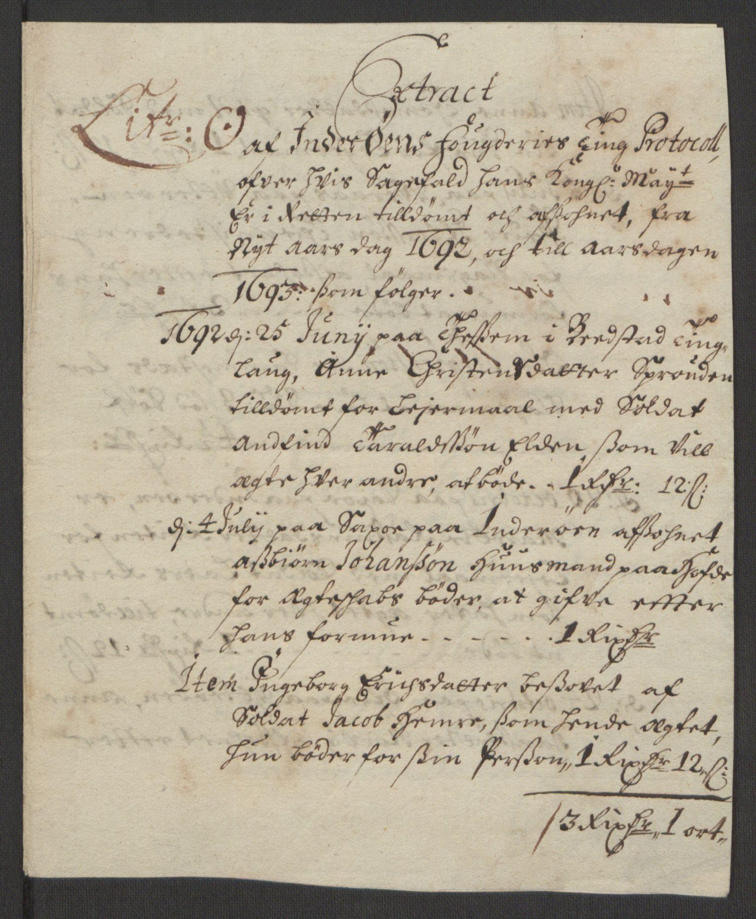 RA, Rentekammeret inntil 1814, Reviderte regnskaper, Fogderegnskap, R63/L4308: Fogderegnskap Inderøy, 1692-1694, s. 197