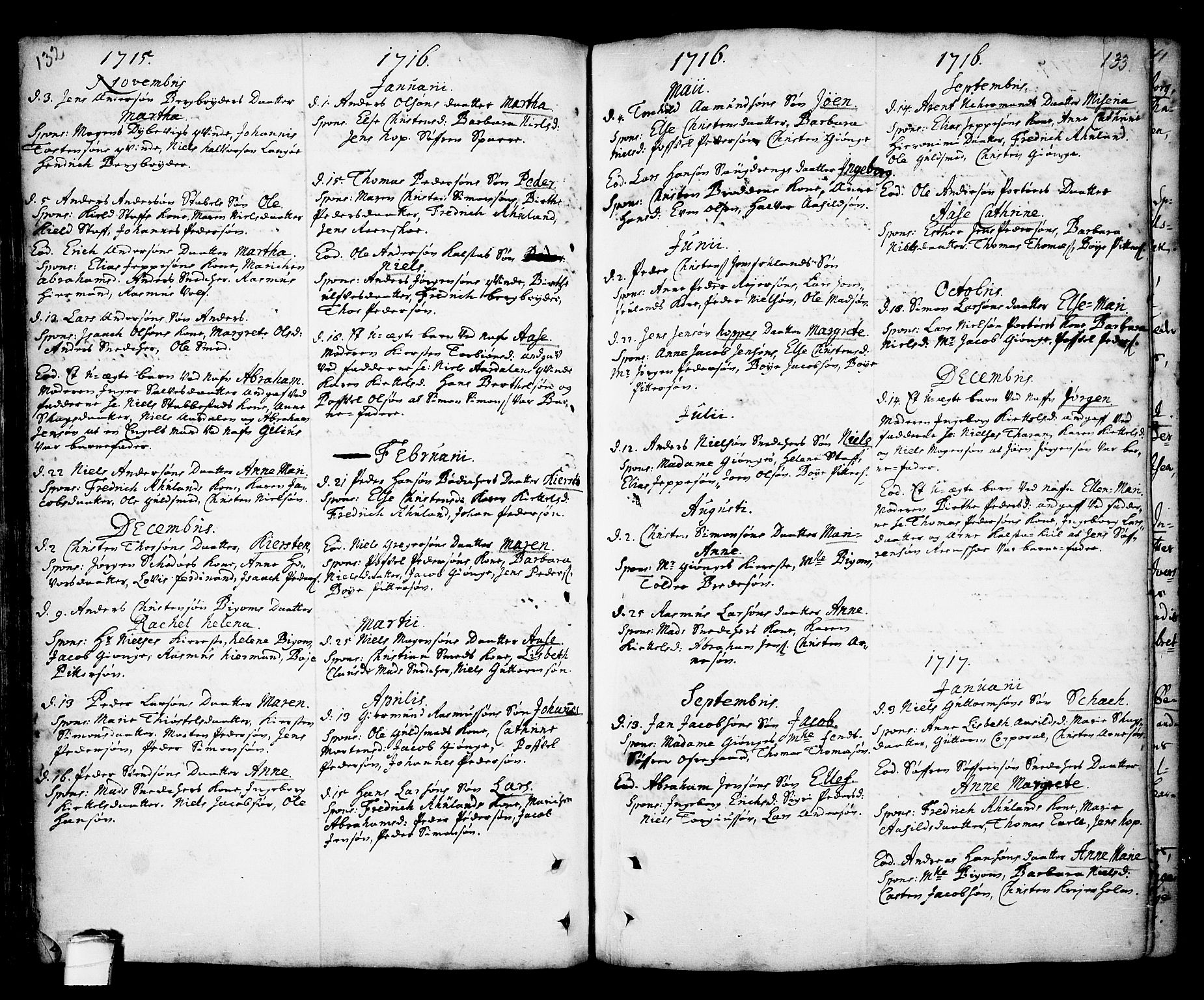 SAKO, Kragerø kirkebøker, F/Fa/L0001: Ministerialbok nr. 1, 1702-1766, s. 132-133