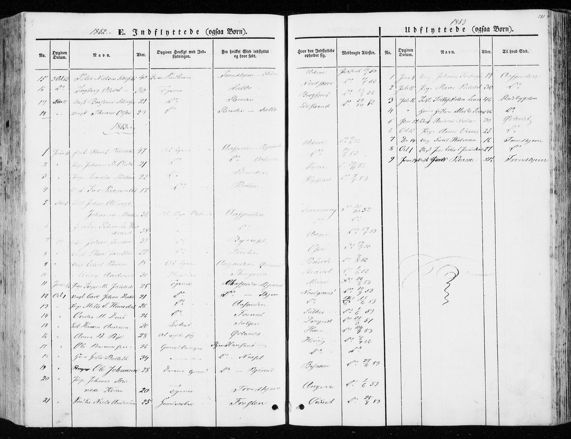 SAT, Ministerialprotokoller, klokkerbøker og fødselsregistre - Sør-Trøndelag, 657/L0704: Ministerialbok nr. 657A05, 1846-1857, s. 281