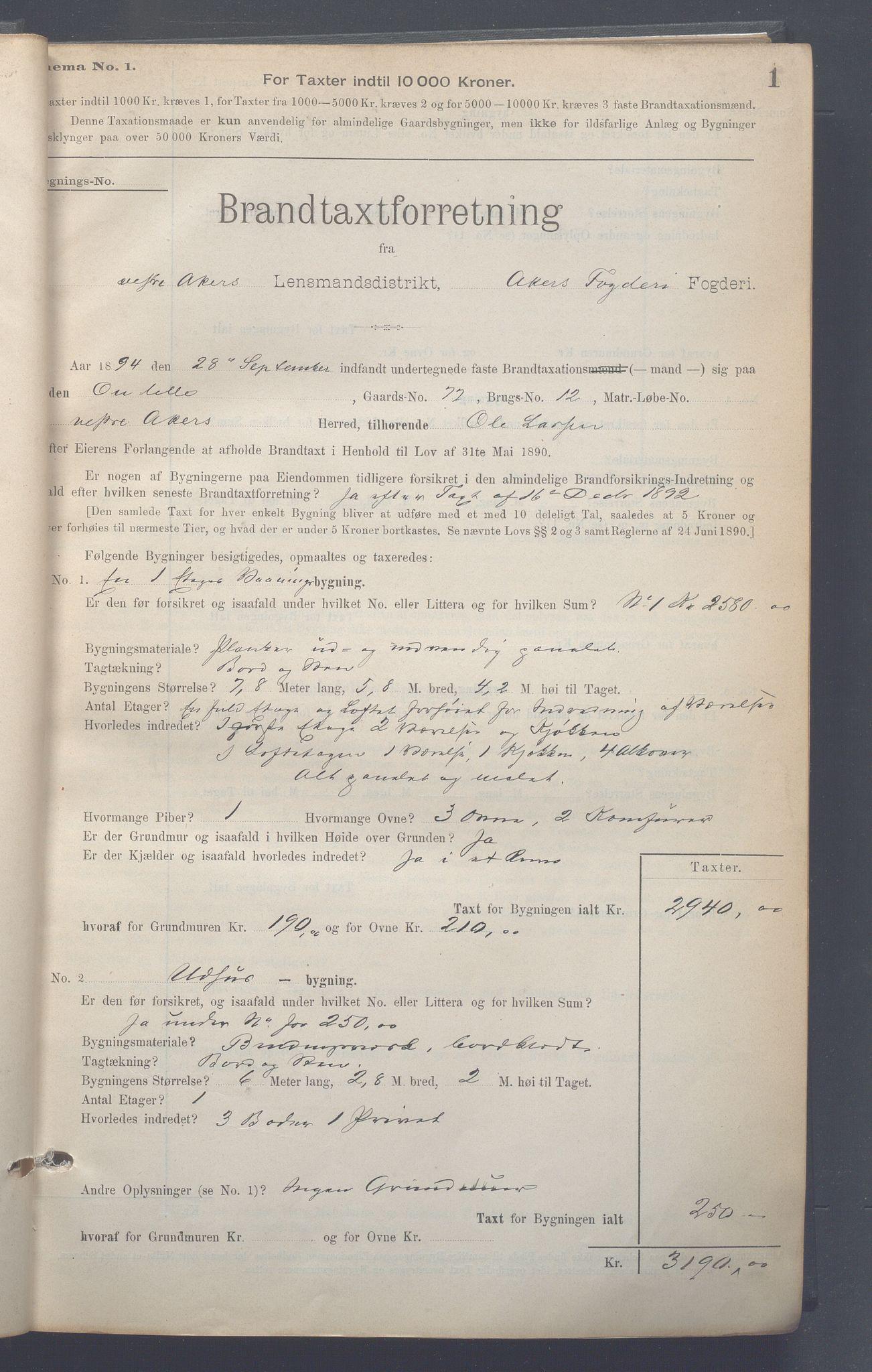 OBA, Lensmennene i Aker, F/Fa/L0009: Branntakstprotokoll, 1894-1908, s. 1