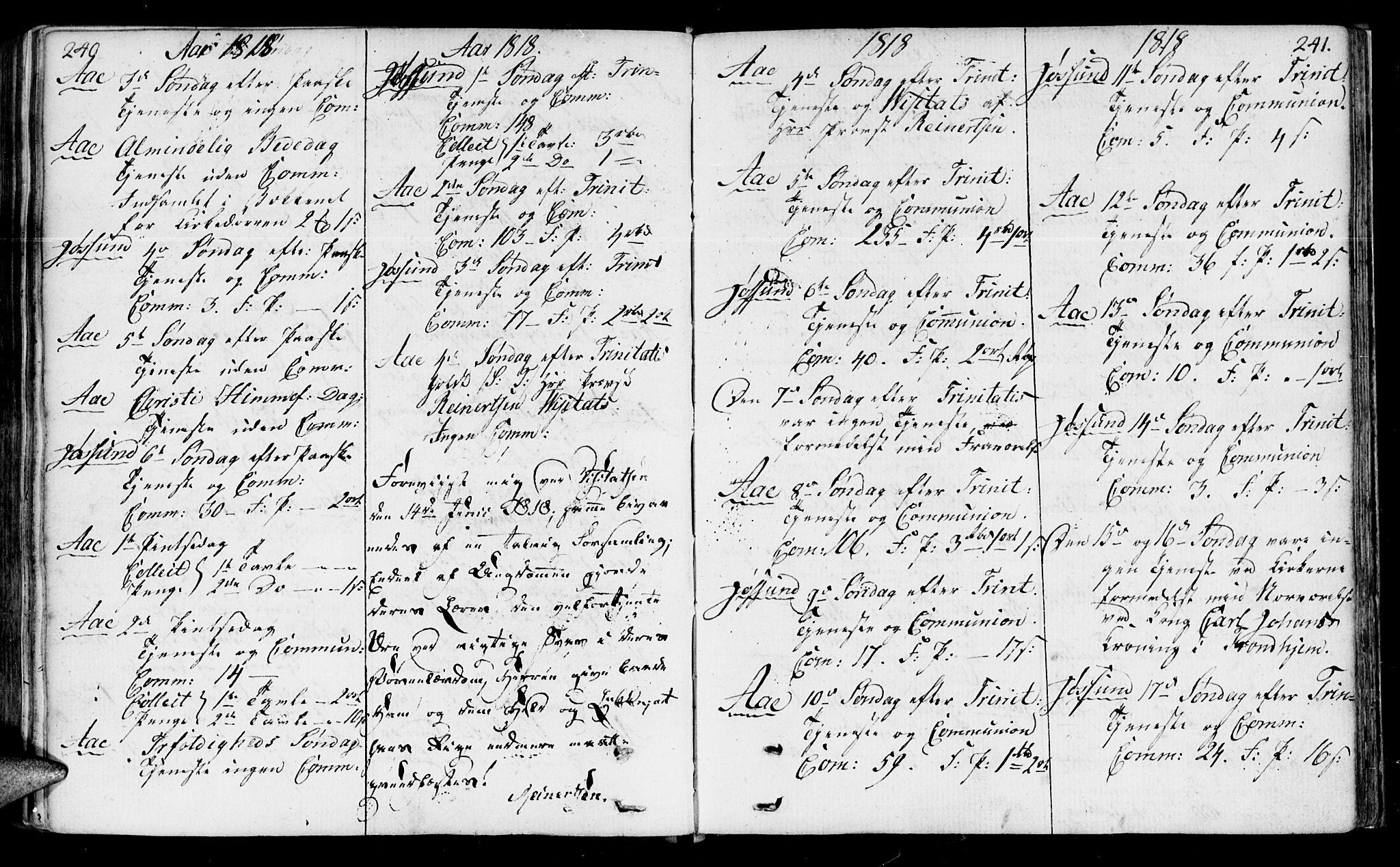 SAT, Ministerialprotokoller, klokkerbøker og fødselsregistre - Sør-Trøndelag, 655/L0674: Ministerialbok nr. 655A03, 1802-1826, s. 240-241