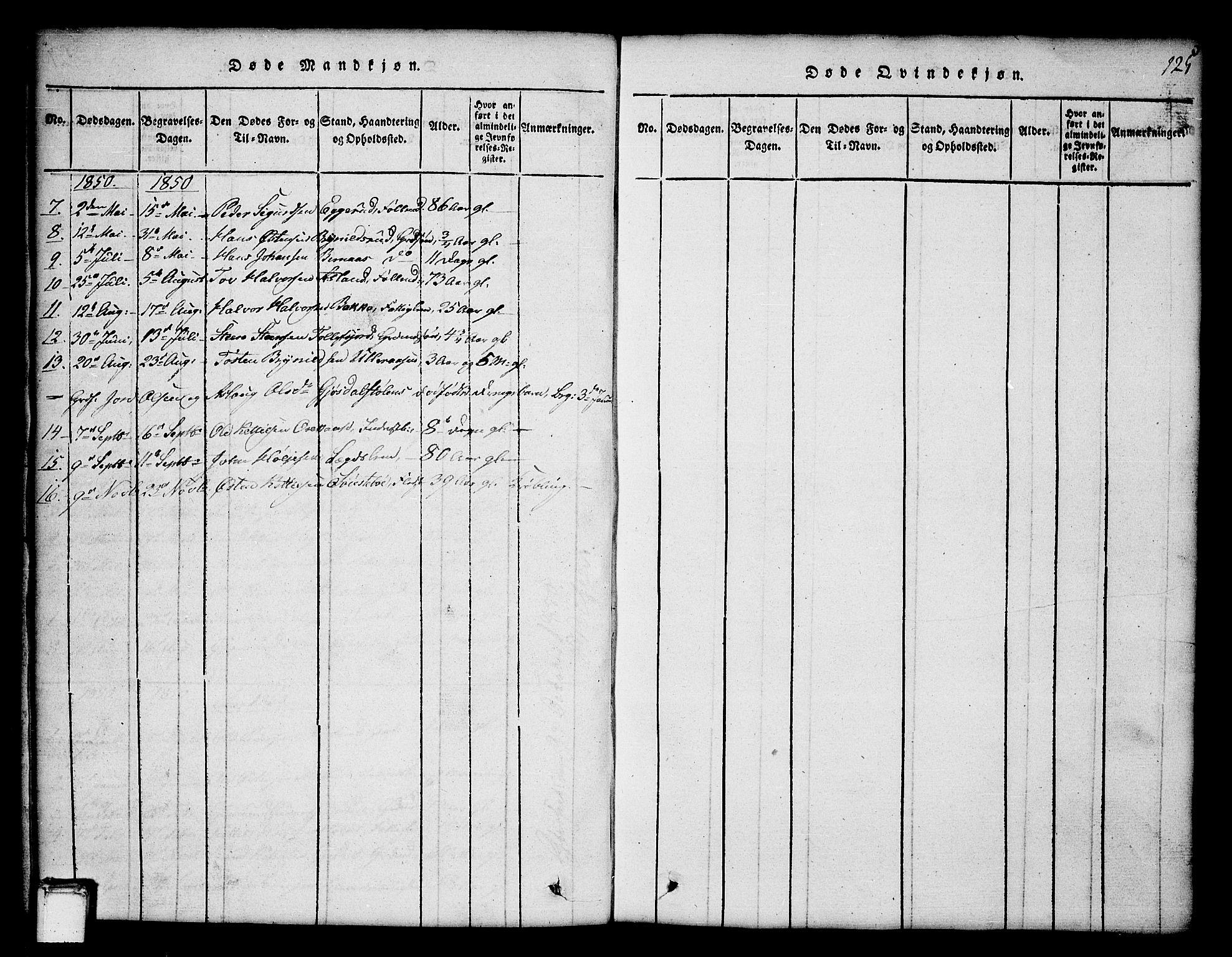 SAKO, Tinn kirkebøker, G/Ga/L0001: Klokkerbok nr. I 1, 1815-1850, s. 125