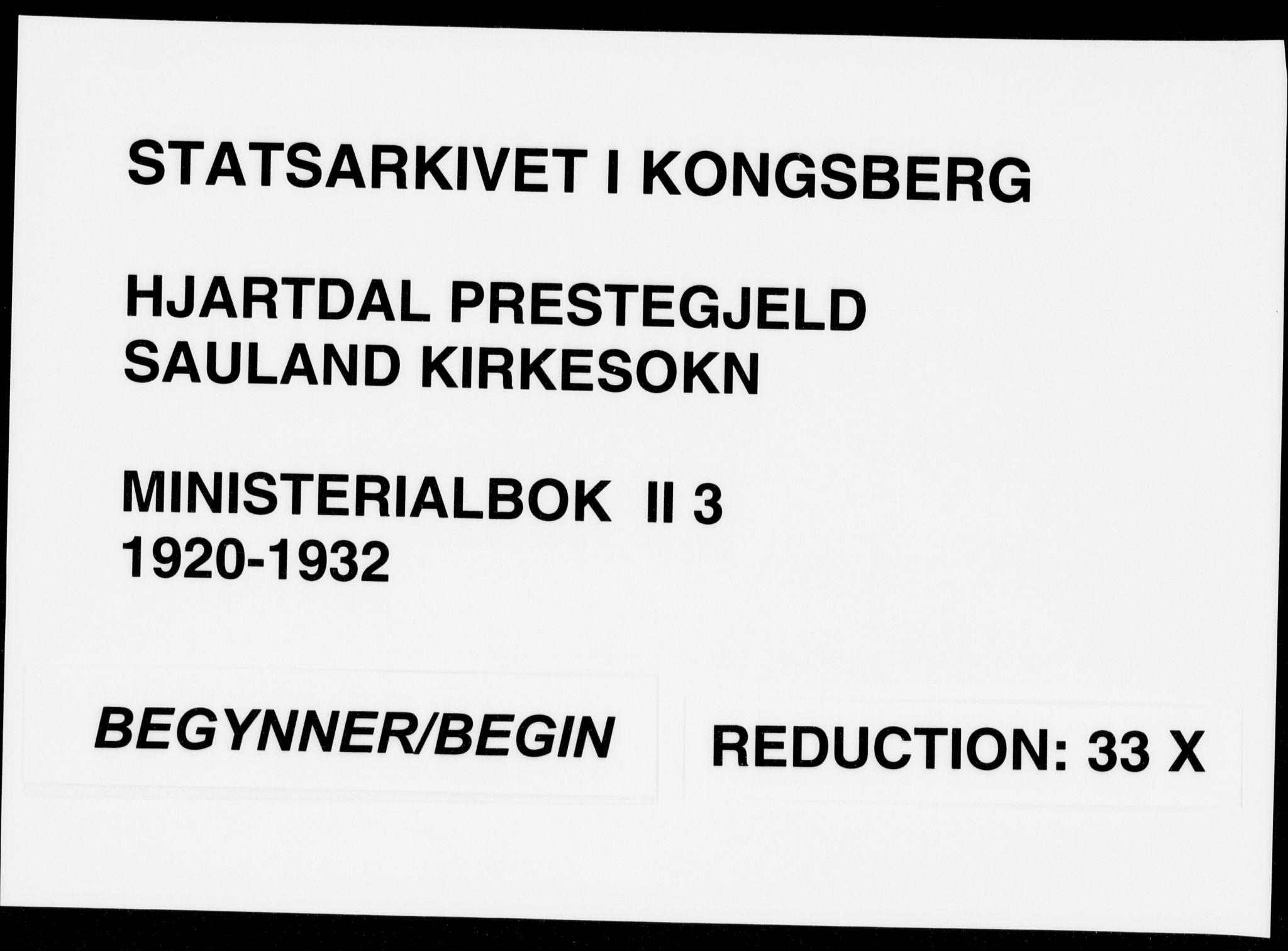 SAKO, Hjartdal kirkebøker, F/Fb/L0003: Ministerialbok nr. II 3, 1920-1932