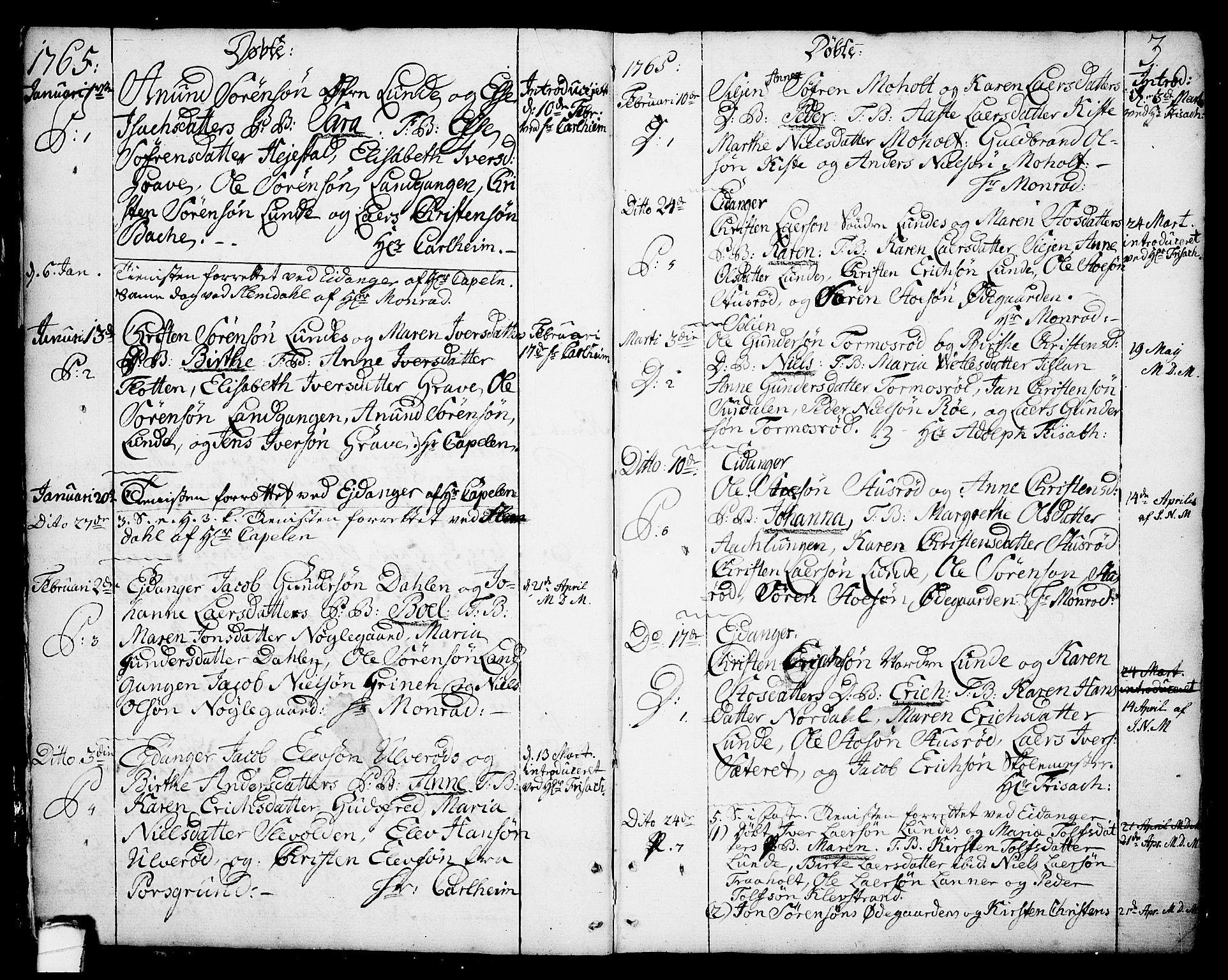 SAKO, Eidanger kirkebøker, F/Fa/L0006: Ministerialbok nr. 6, 1764-1814, s. 3