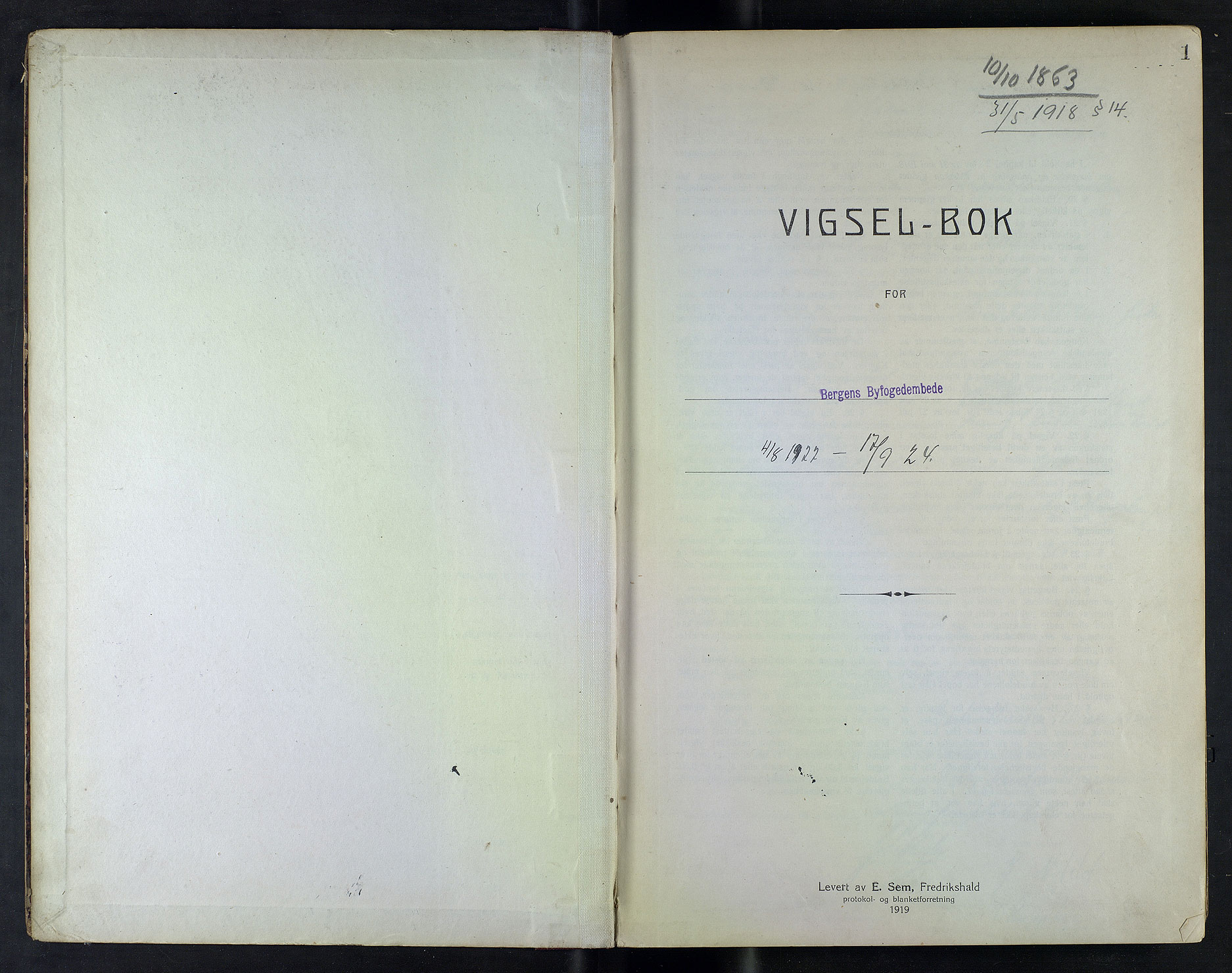 SAB, Bergen byfogd og byskriver*, 1922-1924, s. 1a