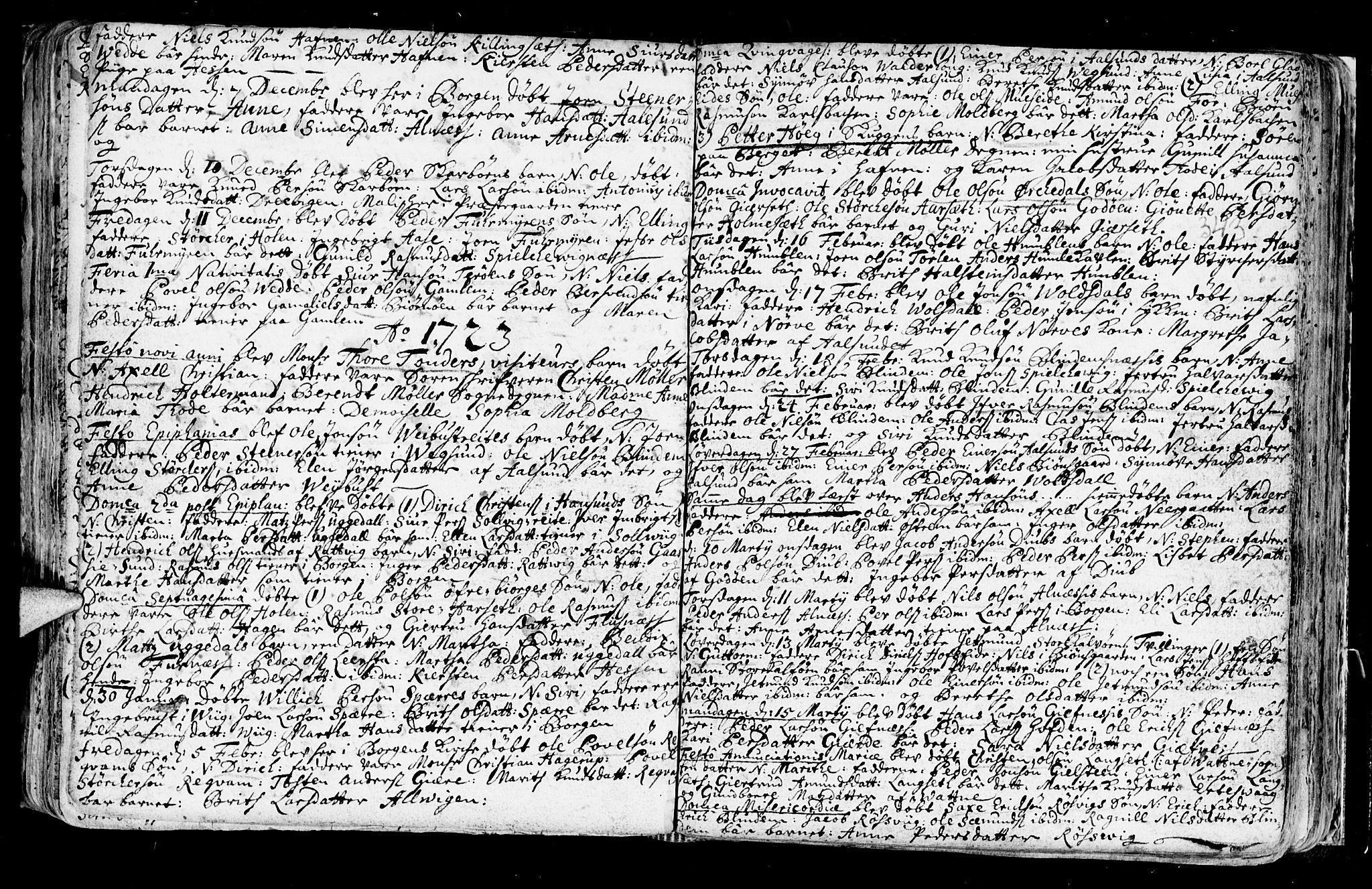SAT, Ministerialprotokoller, klokkerbøker og fødselsregistre - Møre og Romsdal, 528/L0390: Ministerialbok nr. 528A01, 1698-1739, s. 342-343