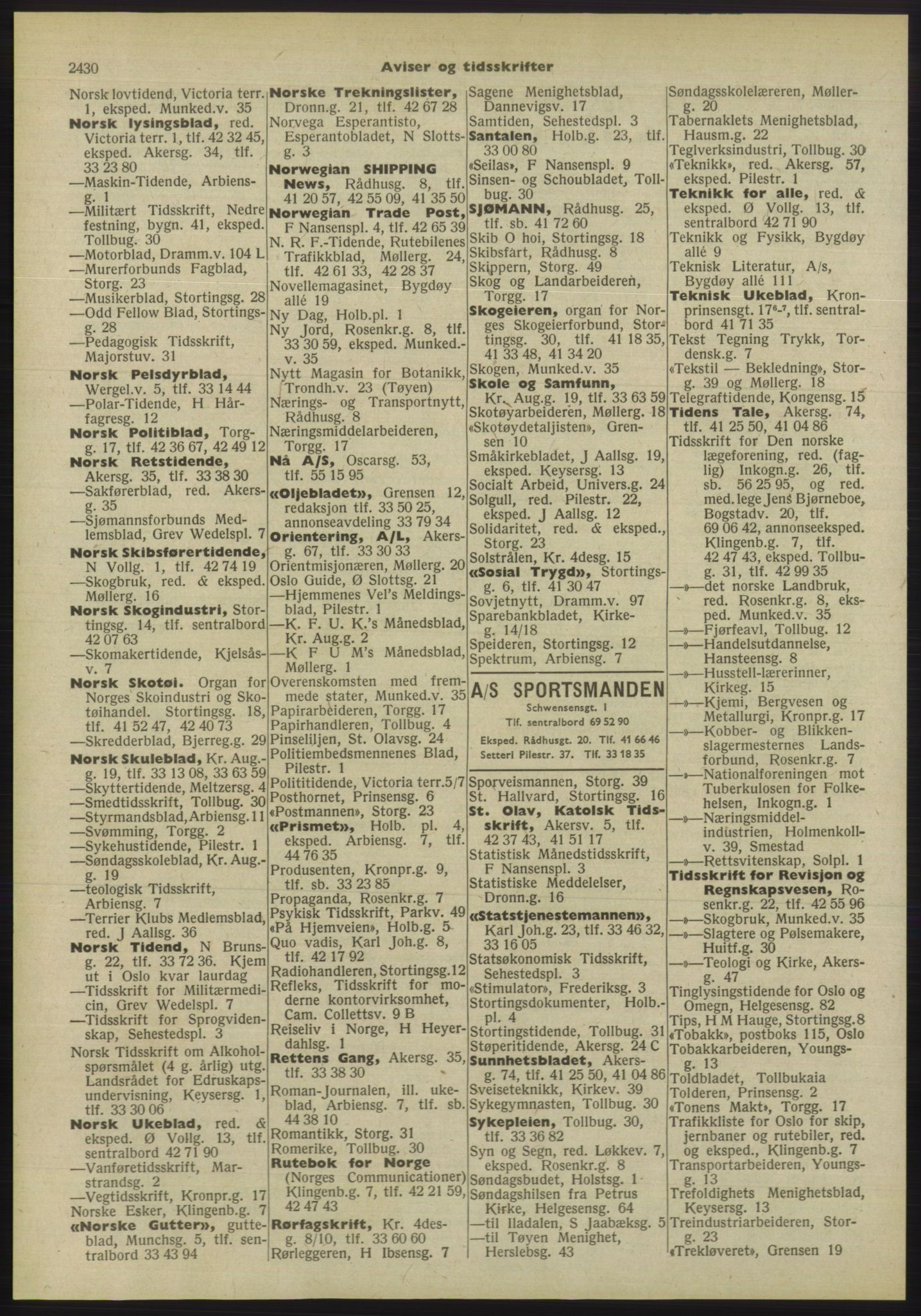 PUBL, Kristiania/Oslo adressebok, 1955, s. 2430