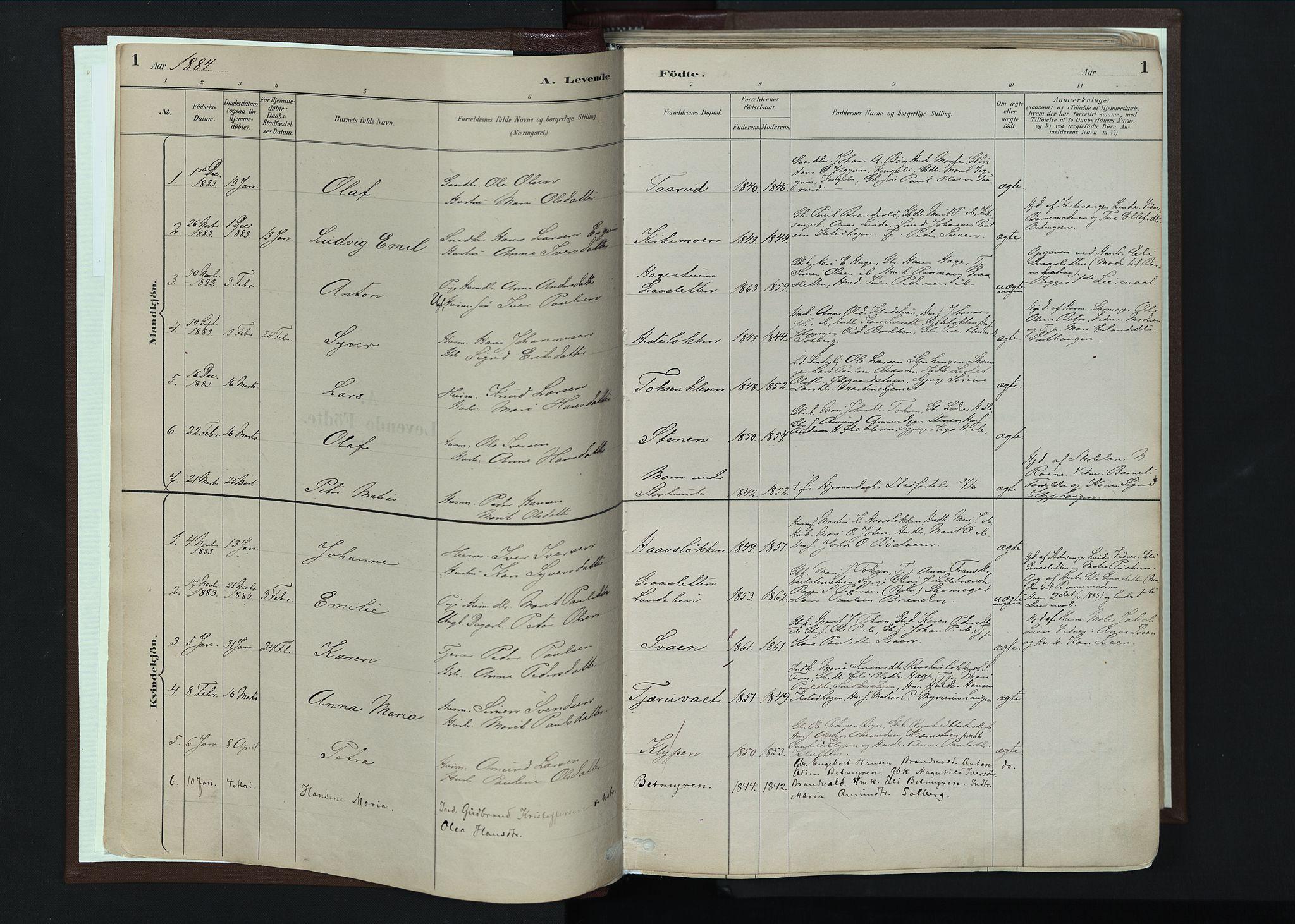SAH, Nord-Fron prestekontor, Ministerialbok nr. 4, 1884-1914, s. 1