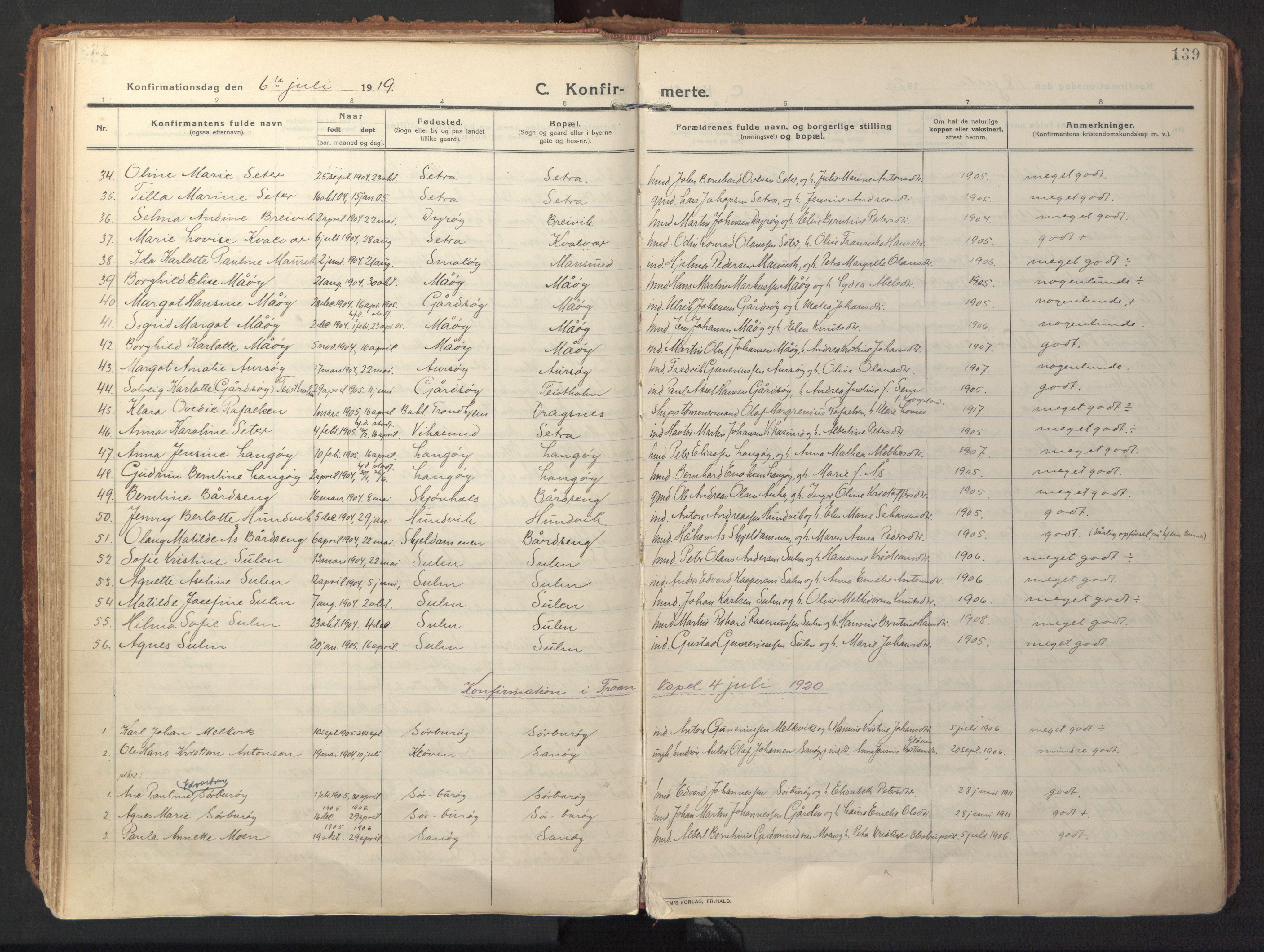SAT, Ministerialprotokoller, klokkerbøker og fødselsregistre - Sør-Trøndelag, 640/L0581: Ministerialbok nr. 640A06, 1910-1924, s. 139