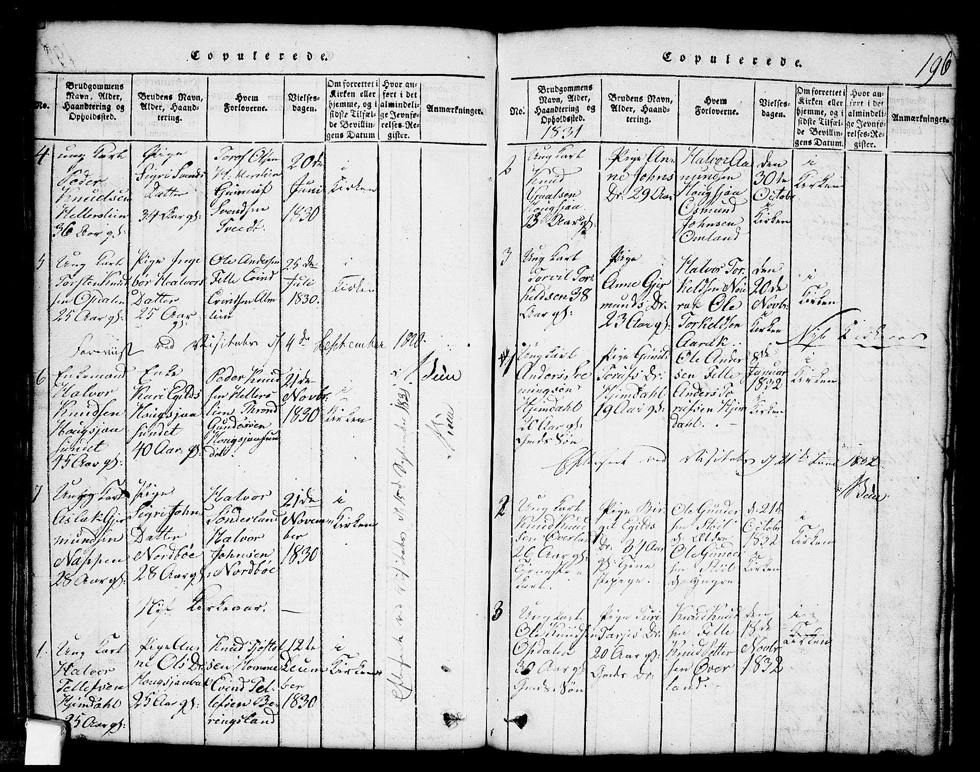 SAKO, Nissedal kirkebøker, G/Gb/L0001: Klokkerbok nr. II 1, 1814-1862, s. 196