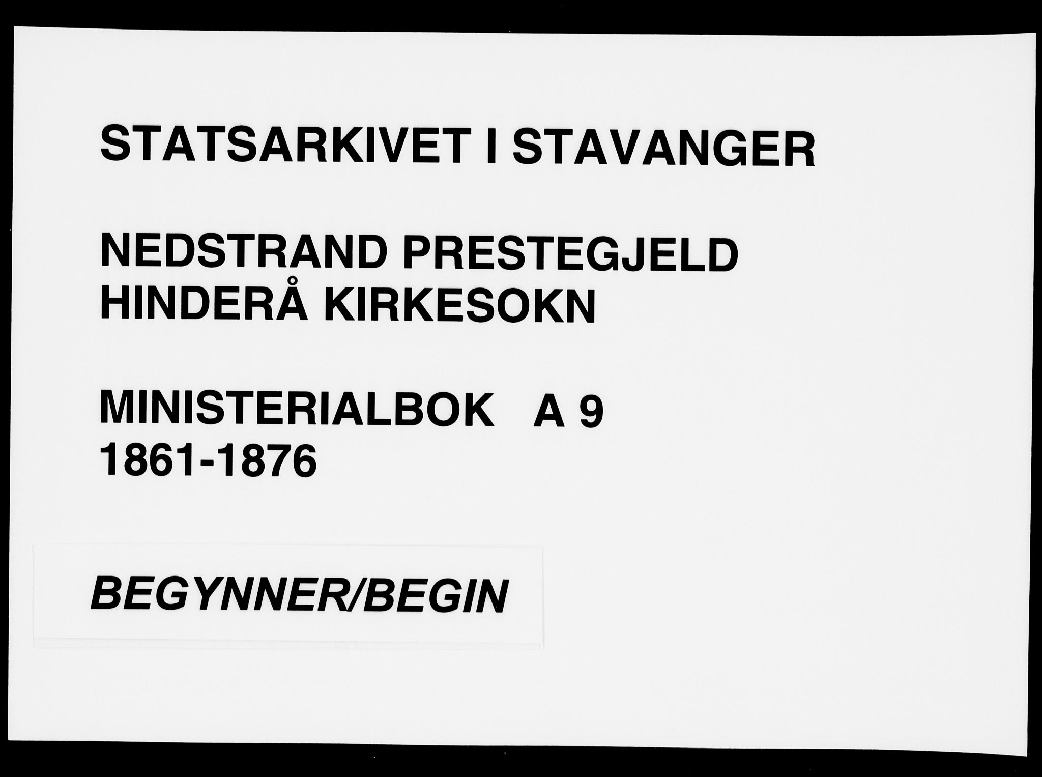 SAST, Nedstrand sokneprestkontor, IV: Ministerialbok nr. A 9, 1861-1876