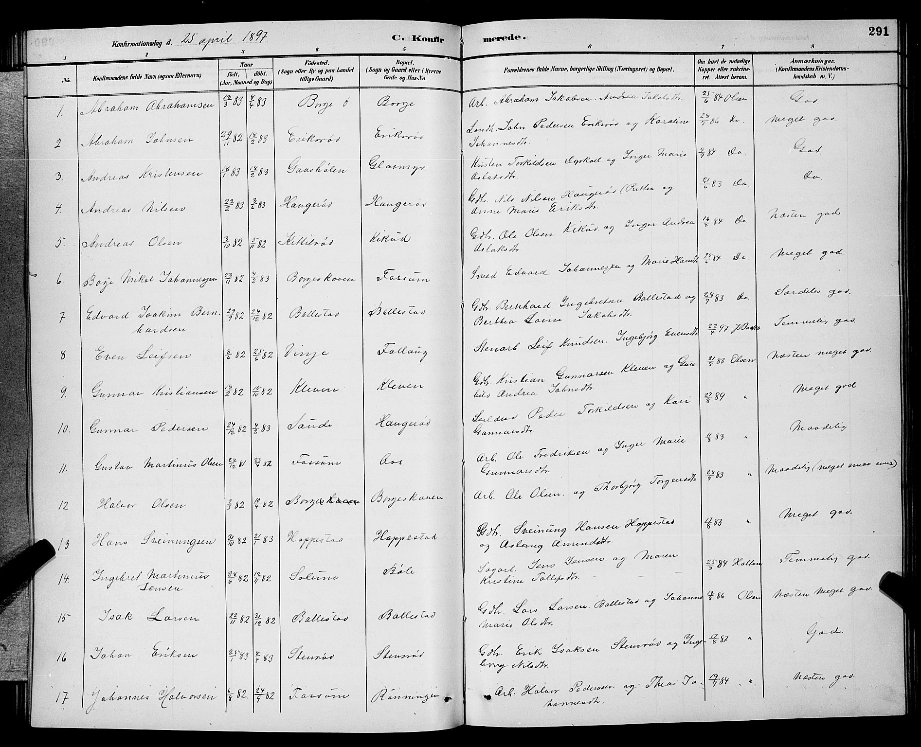 SAKO, Gjerpen kirkebøker, G/Ga/L0002: Klokkerbok nr. I 2, 1883-1900, s. 291