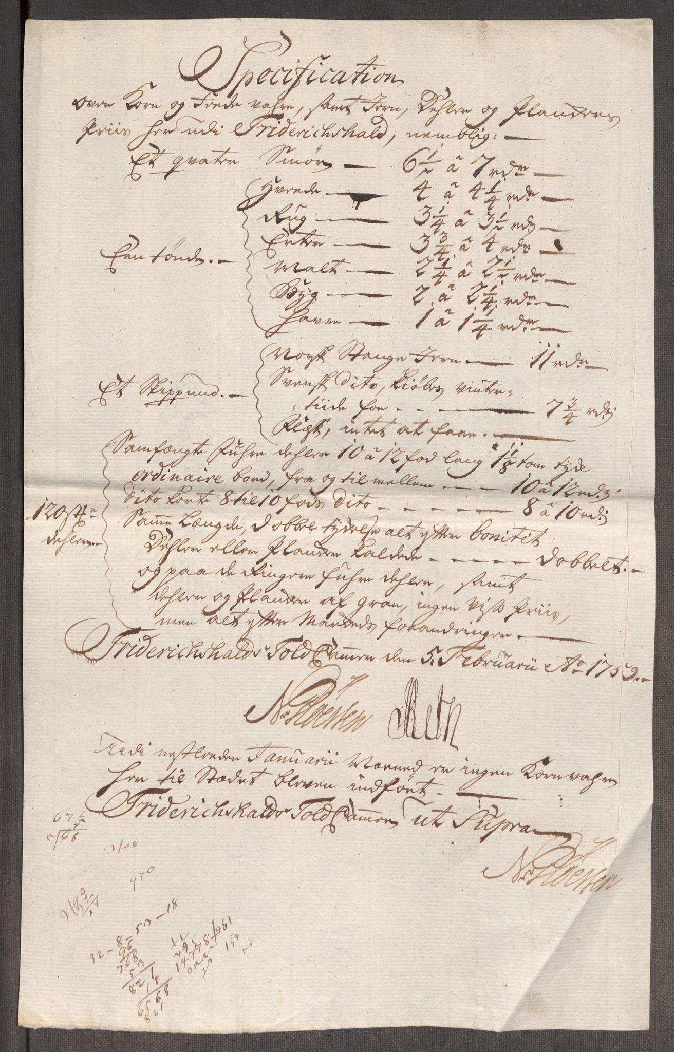 RA, Rentekammeret inntil 1814, Realistisk ordnet avdeling, Oe/L0006: [Ø1]: Priskuranter, 1758-1760, s. 326