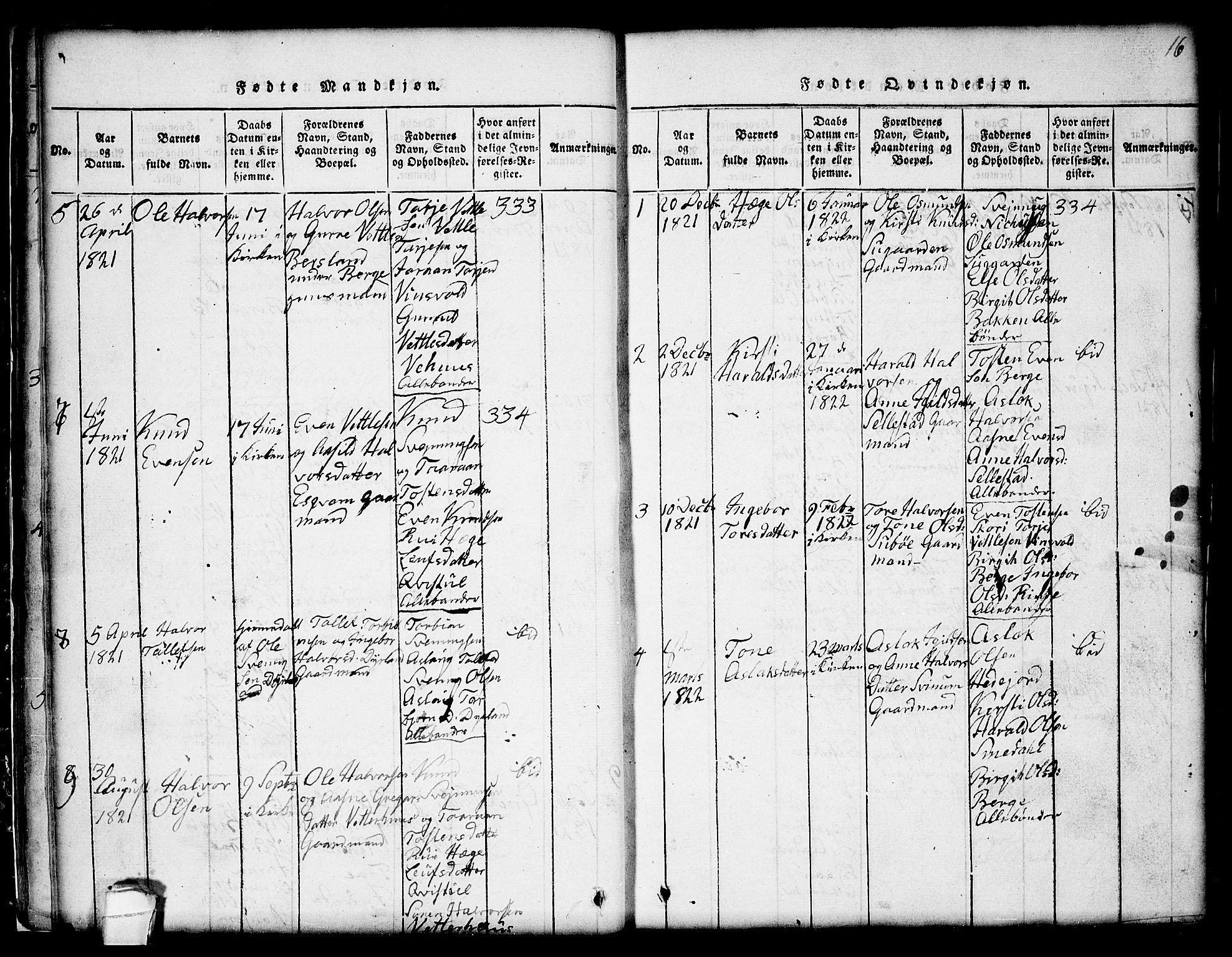 SAKO, Seljord kirkebøker, G/Gc/L0001: Klokkerbok nr. III 1, 1815-1849, s. 16