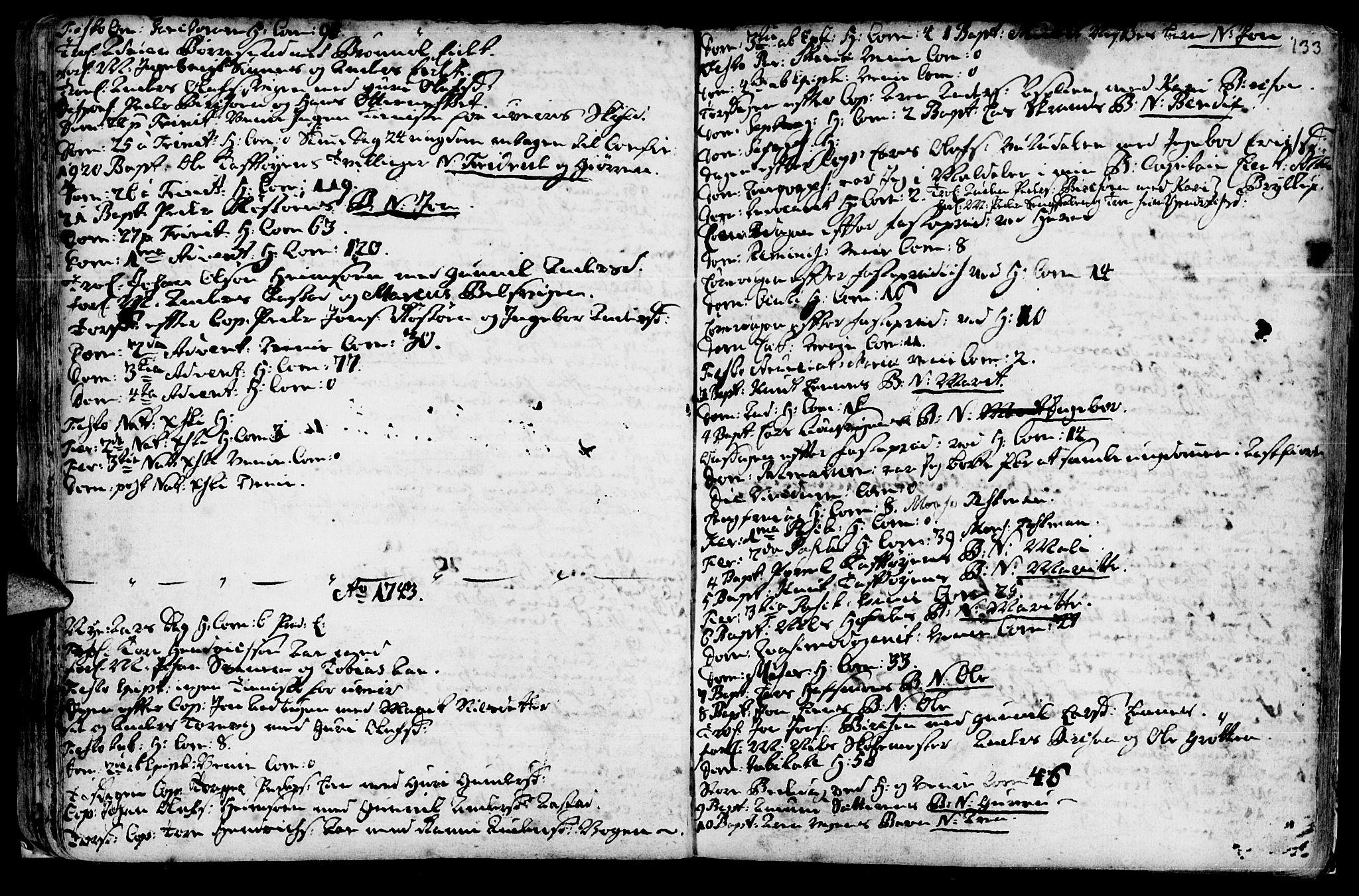 SAT, Ministerialprotokoller, klokkerbøker og fødselsregistre - Sør-Trøndelag, 630/L0488: Ministerialbok nr. 630A01, 1717-1756, s. 132-133