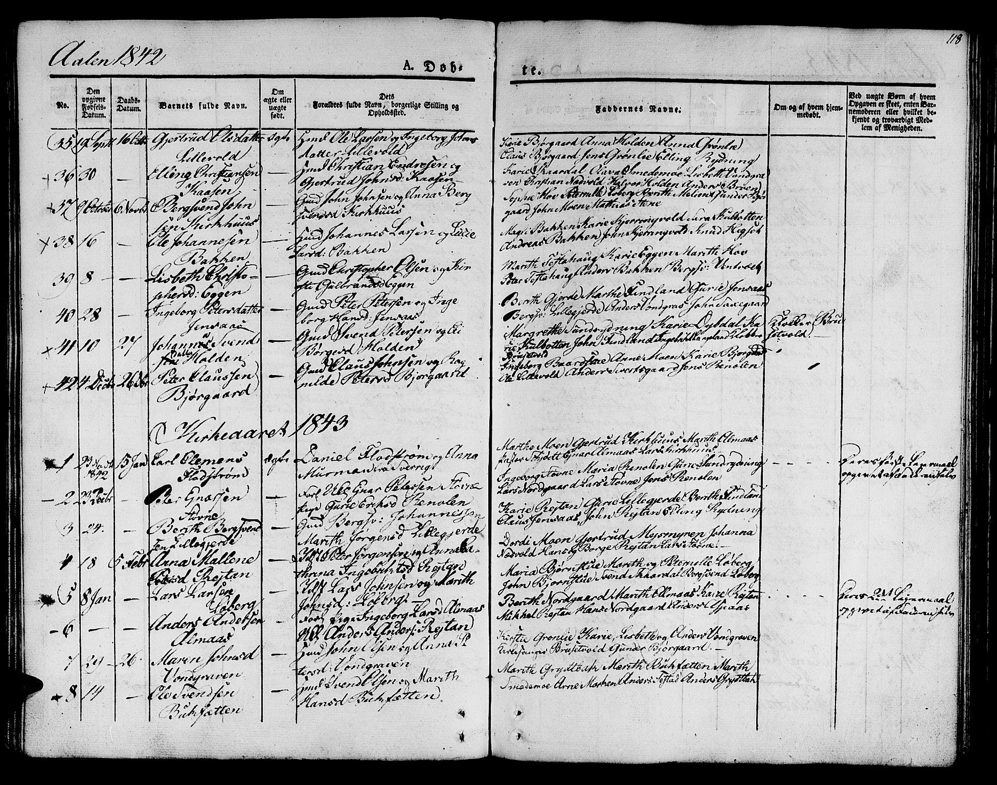 SAT, Ministerialprotokoller, klokkerbøker og fødselsregistre - Sør-Trøndelag, 685/L0959: Ministerialbok nr. 685A04 /3, 1829-1845, s. 118
