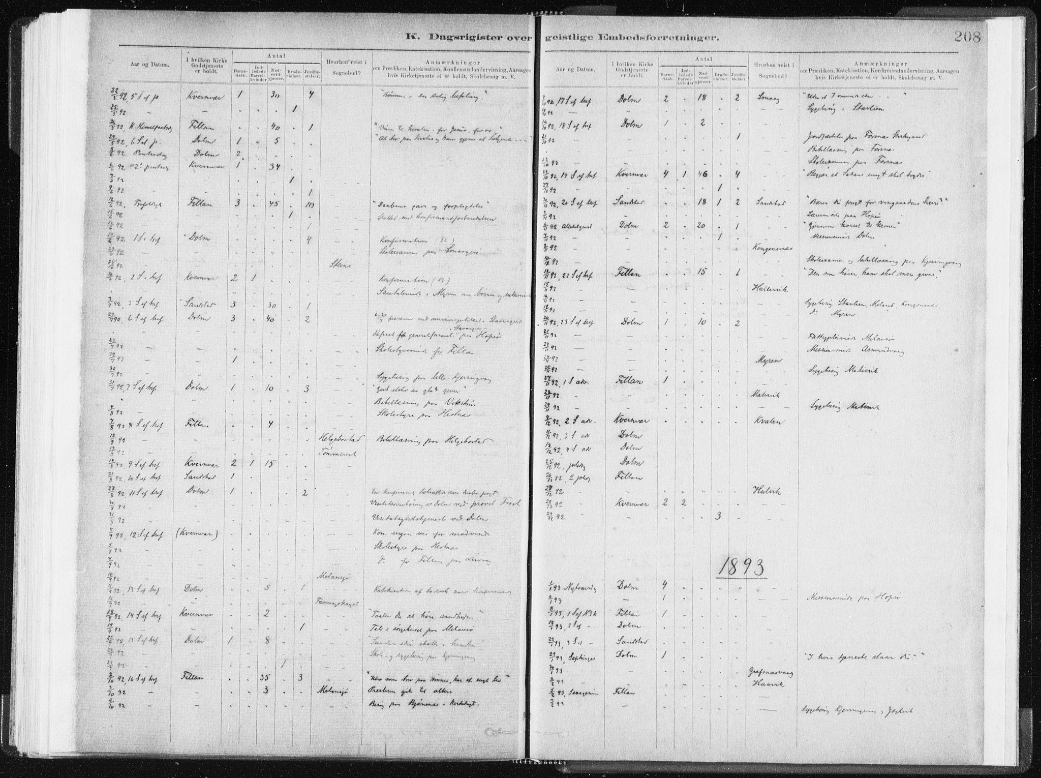 SAT, Ministerialprotokoller, klokkerbøker og fødselsregistre - Sør-Trøndelag, 634/L0533: Ministerialbok nr. 634A09, 1882-1901, s. 208
