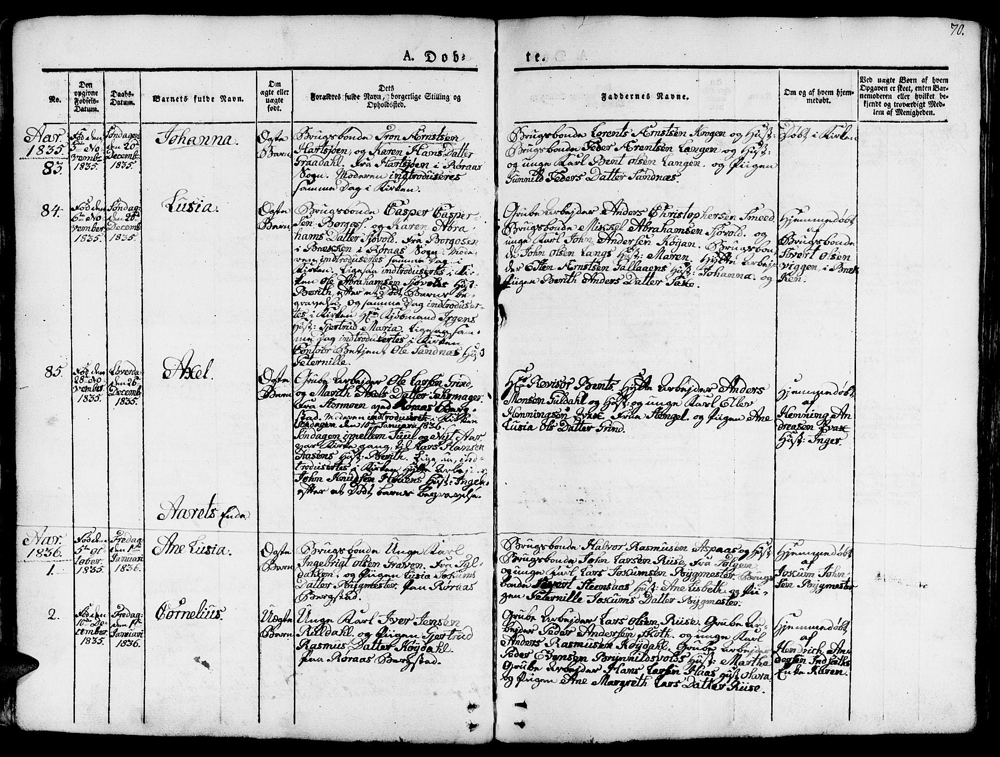 SAT, Ministerialprotokoller, klokkerbøker og fødselsregistre - Sør-Trøndelag, 681/L0938: Klokkerbok nr. 681C02, 1829-1879, s. 70