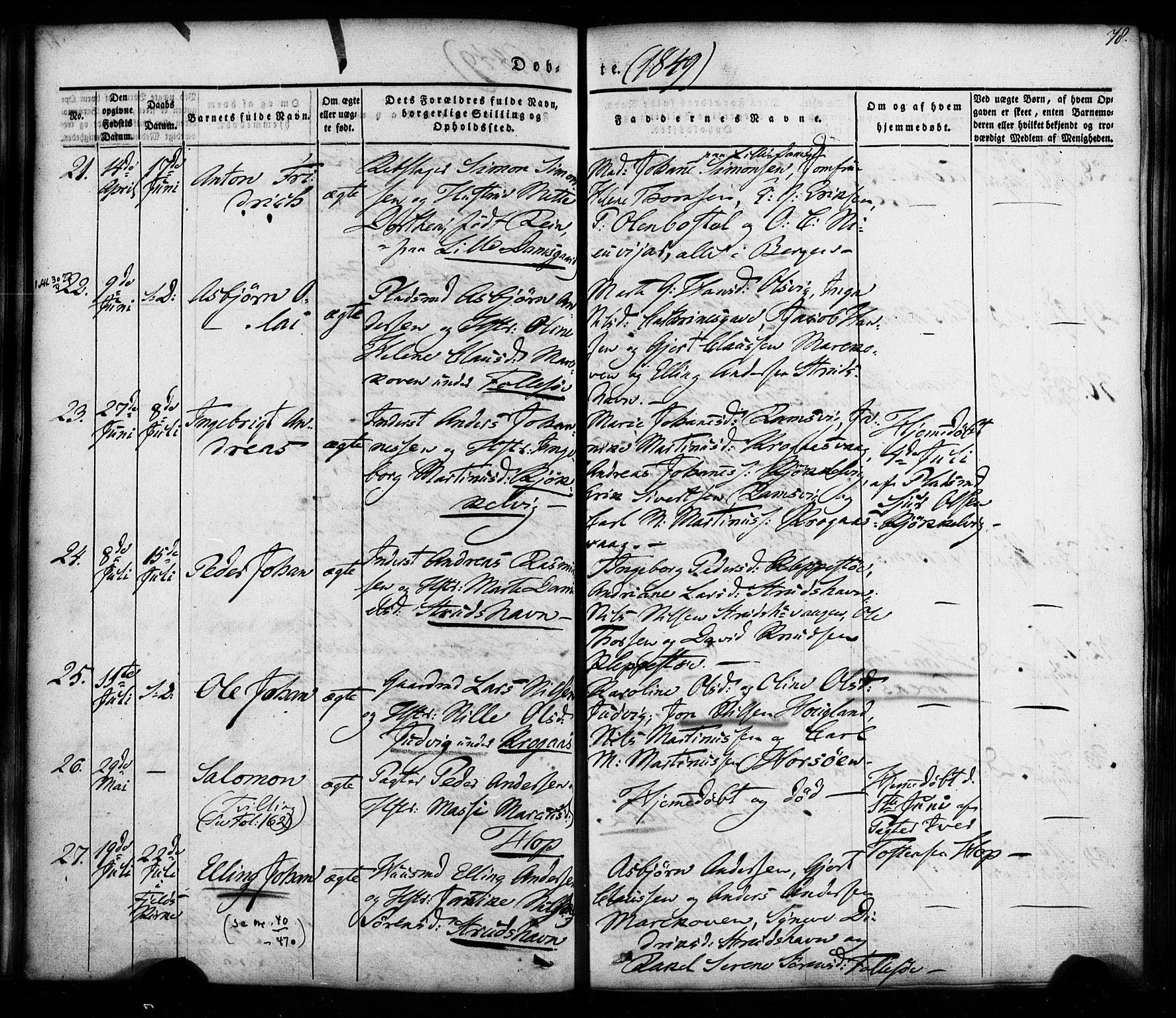 SAB, Askøy Sokneprestembete, H: Ministerialbok nr. A 5, 1836-1852, s. 78