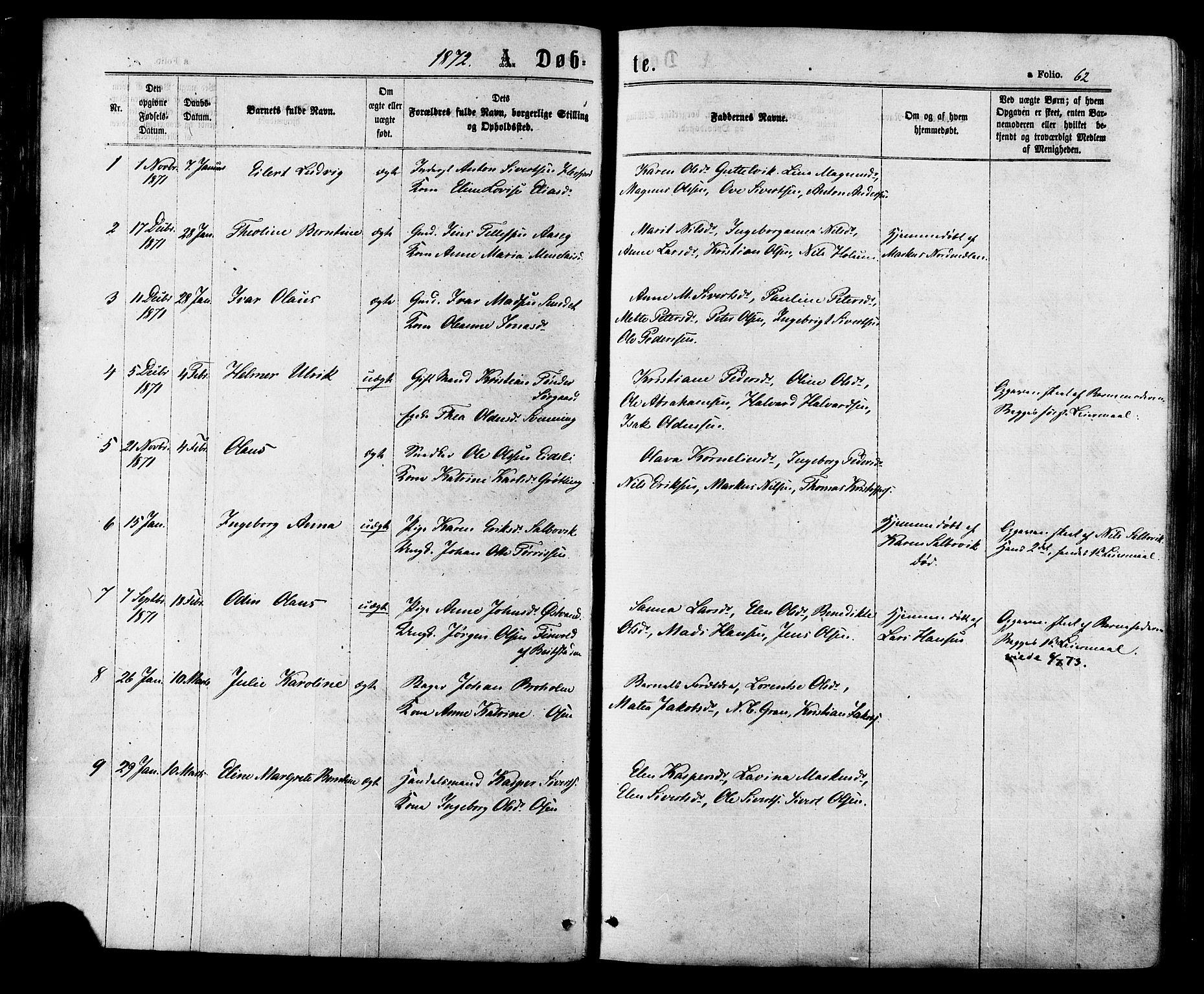 SAT, Ministerialprotokoller, klokkerbøker og fødselsregistre - Sør-Trøndelag, 657/L0706: Ministerialbok nr. 657A07, 1867-1878, s. 62