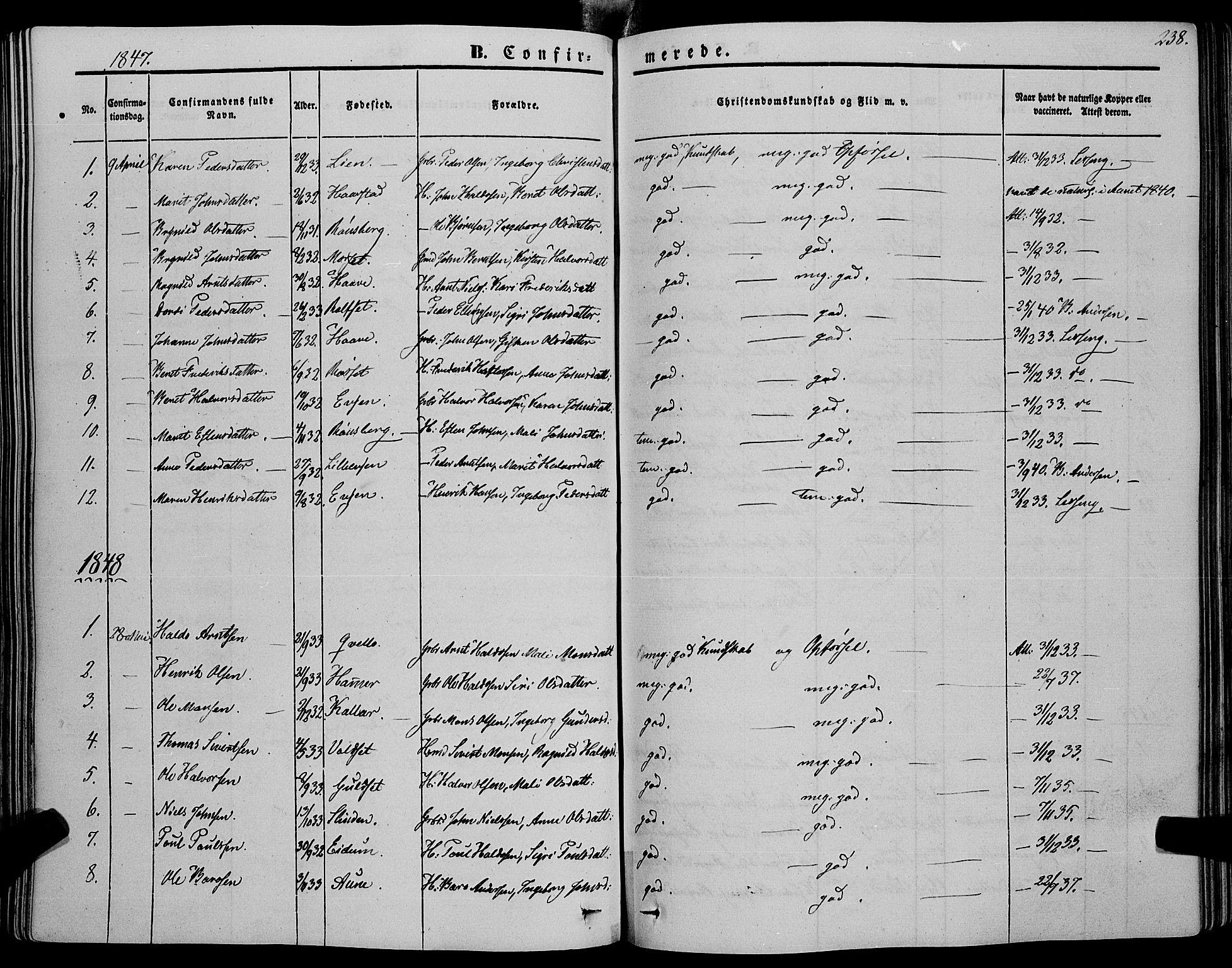 SAT, Ministerialprotokoller, klokkerbøker og fødselsregistre - Sør-Trøndelag, 695/L1145: Ministerialbok nr. 695A06 /1, 1843-1859, s. 238