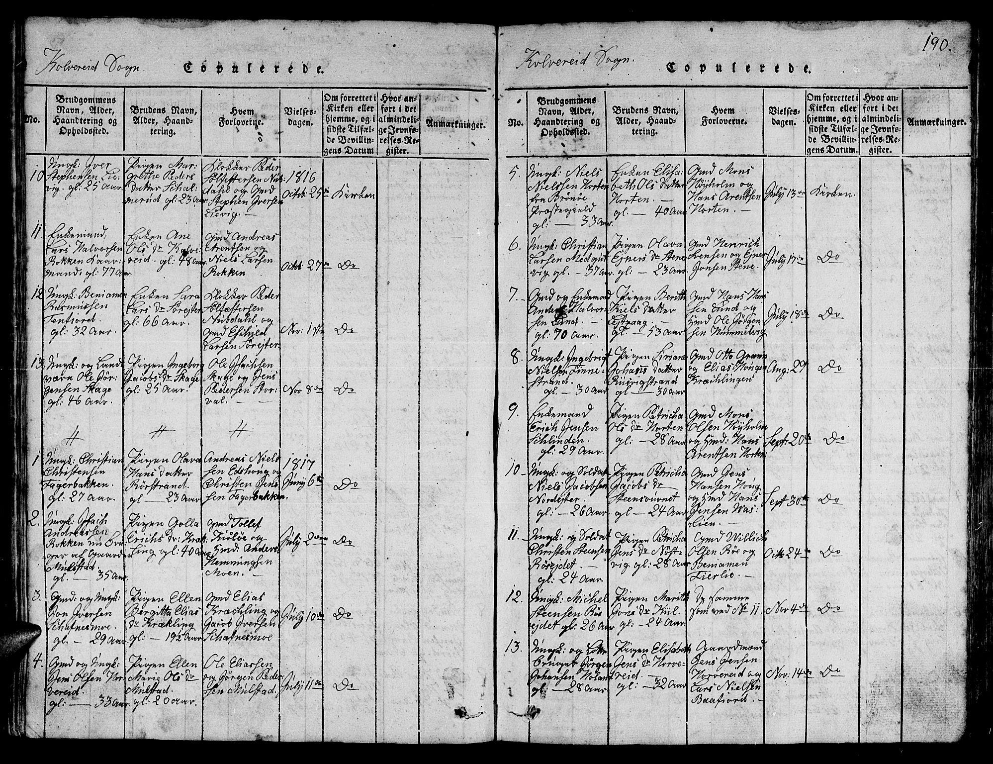 SAT, Ministerialprotokoller, klokkerbøker og fødselsregistre - Nord-Trøndelag, 780/L0648: Klokkerbok nr. 780C01 /1, 1815-1870, s. 190