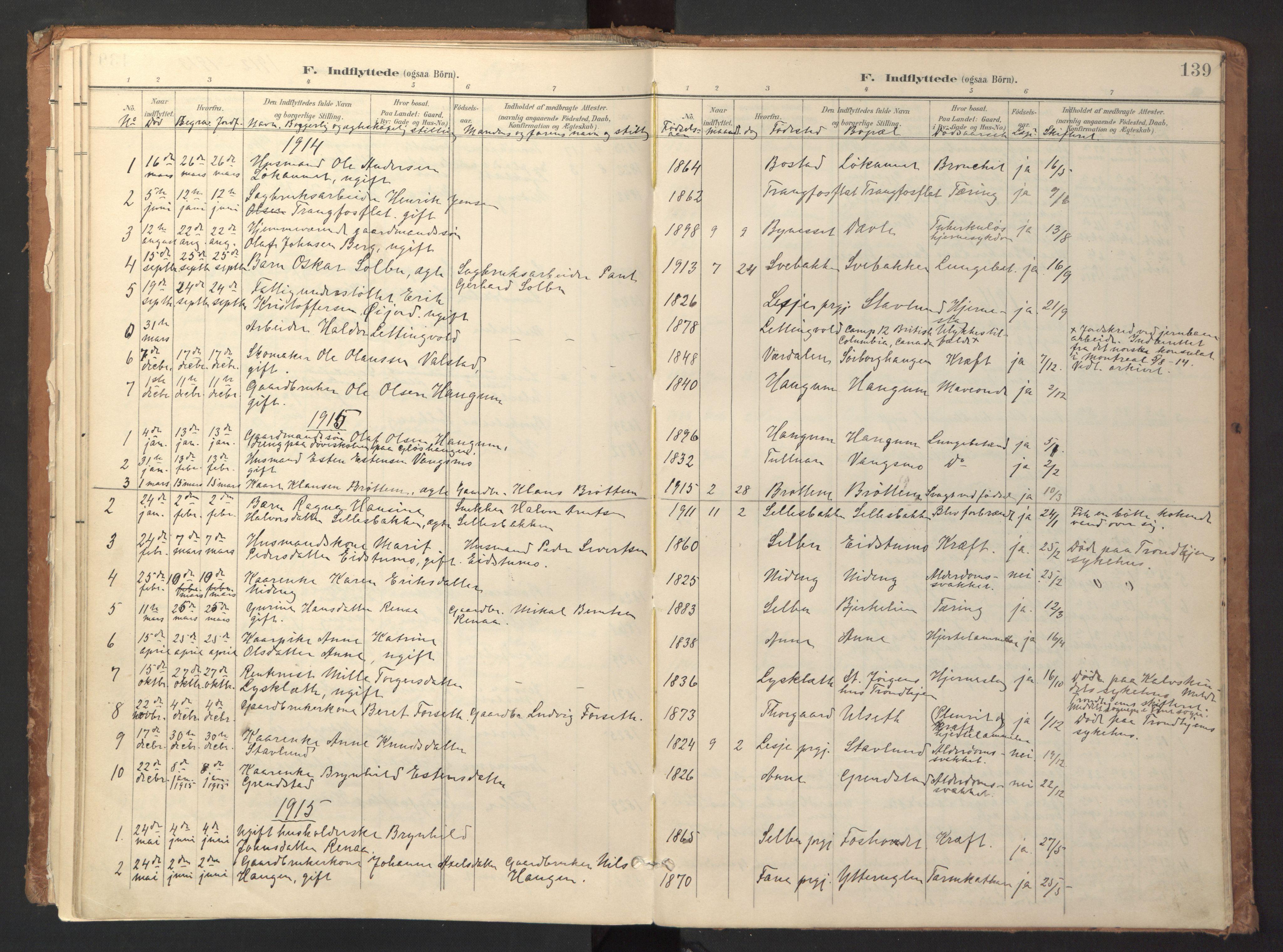 SAT, Ministerialprotokoller, klokkerbøker og fødselsregistre - Sør-Trøndelag, 618/L0448: Ministerialbok nr. 618A11, 1898-1916, s. 139