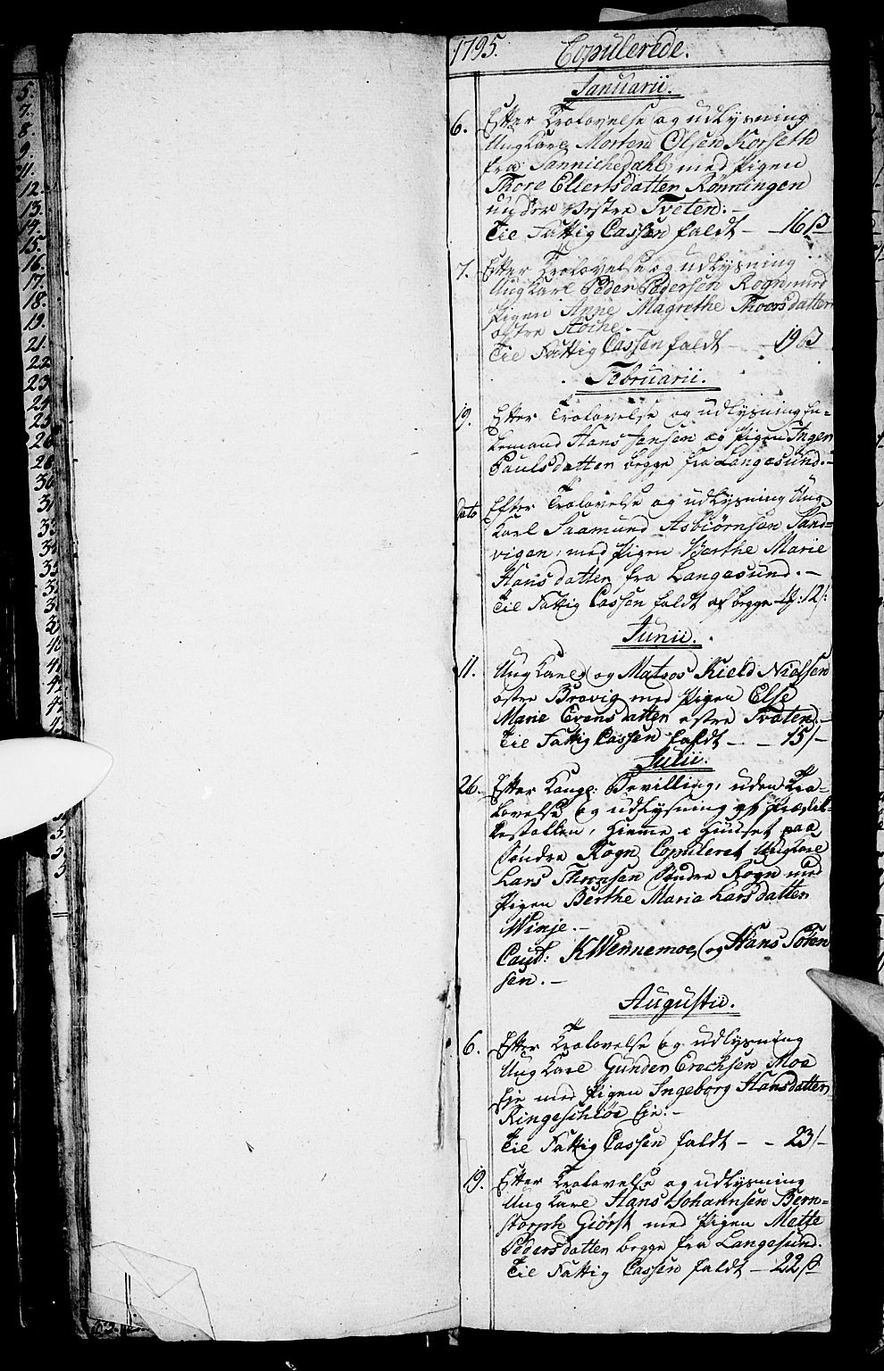 SAKO, Bamble kirkebøker, G/Ga/L0002: Klokkerbok nr. I 2, 1794-1800