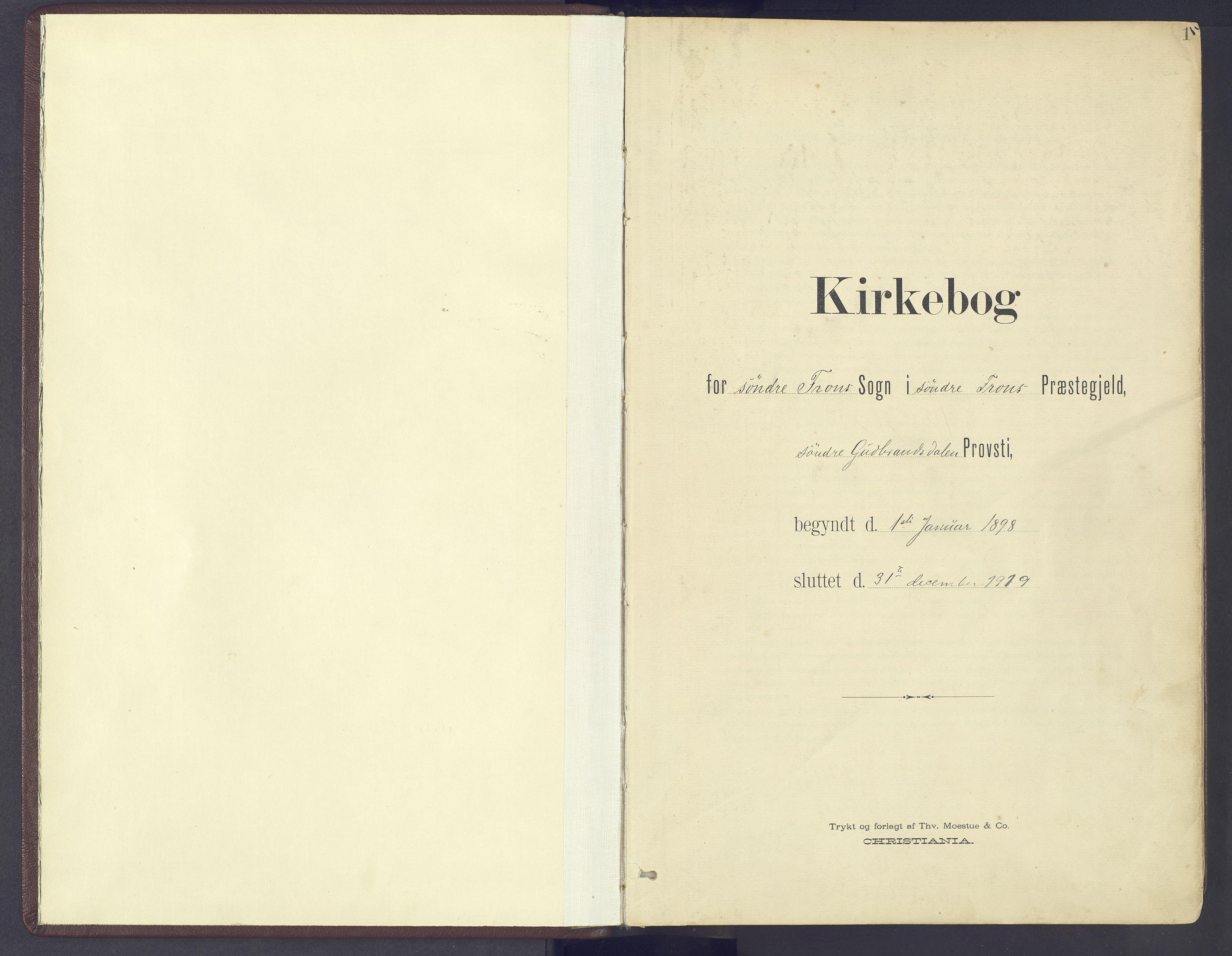 SAH, Sør-Fron prestekontor, H/Ha/Haa/L0004: Ministerialbok nr. 4, 1898-1919, s. 1