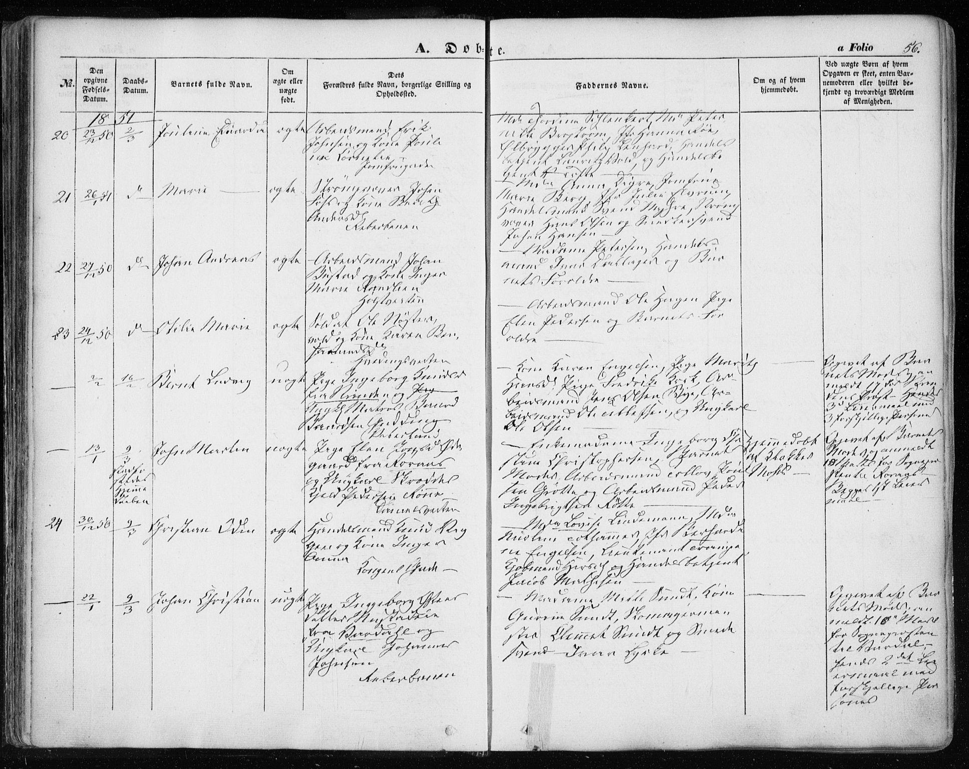 SAT, Ministerialprotokoller, klokkerbøker og fødselsregistre - Sør-Trøndelag, 601/L0051: Ministerialbok nr. 601A19, 1848-1857, s. 56