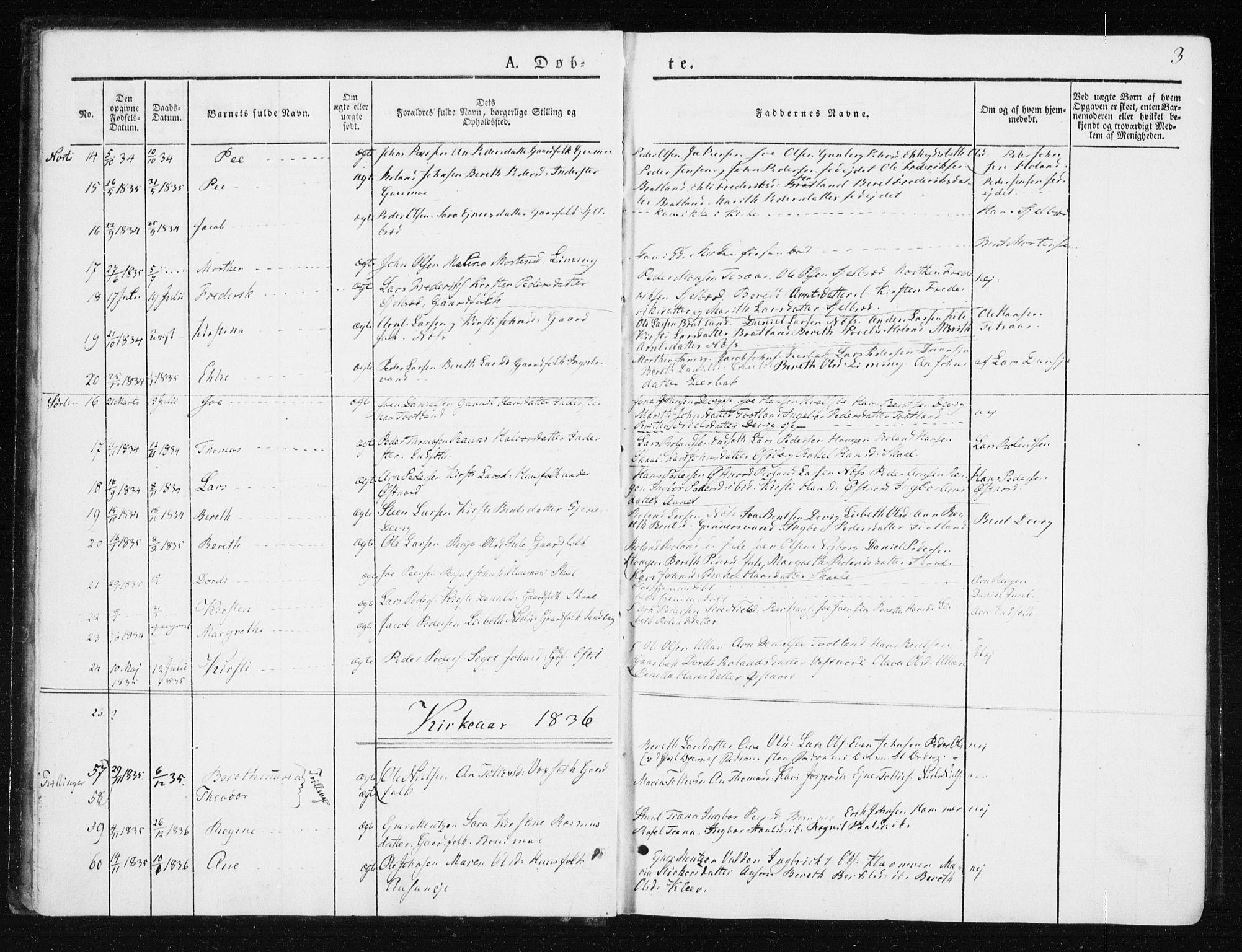 SAT, Ministerialprotokoller, klokkerbøker og fødselsregistre - Nord-Trøndelag, 749/L0470: Ministerialbok nr. 749A04, 1834-1853, s. 3