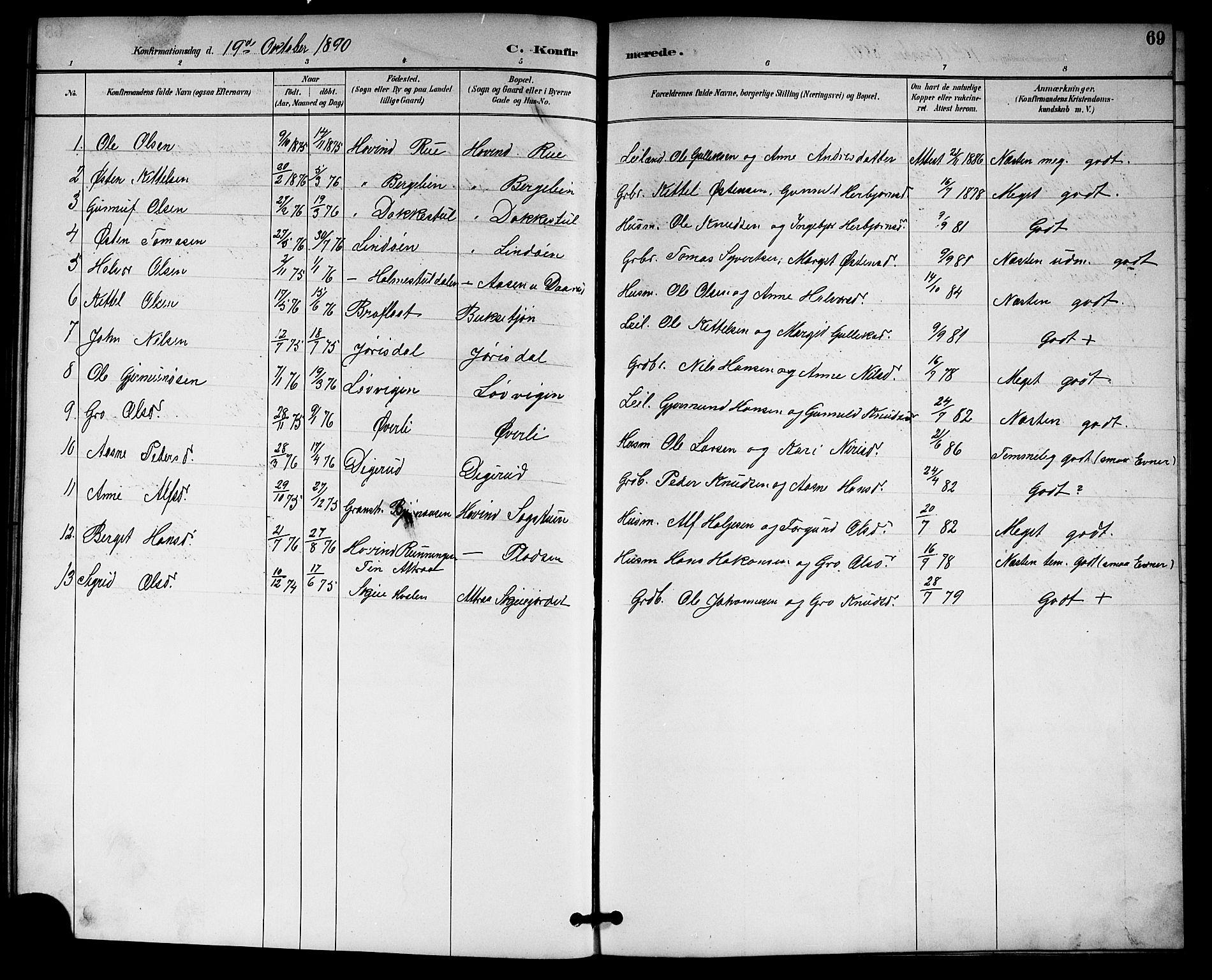 SAKO, Gransherad kirkebøker, G/Gb/L0003: Klokkerbok nr. II 3, 1887-1921, s. 69