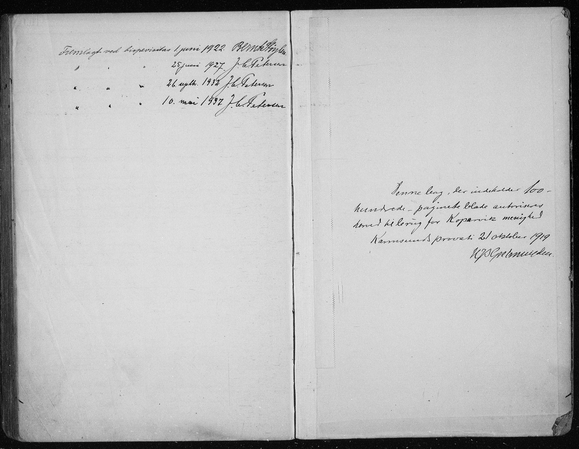 SAST, Kopervik sokneprestkontor, I/Ie/L0001: Lysningsprotokoll nr. 1, 1919-1940