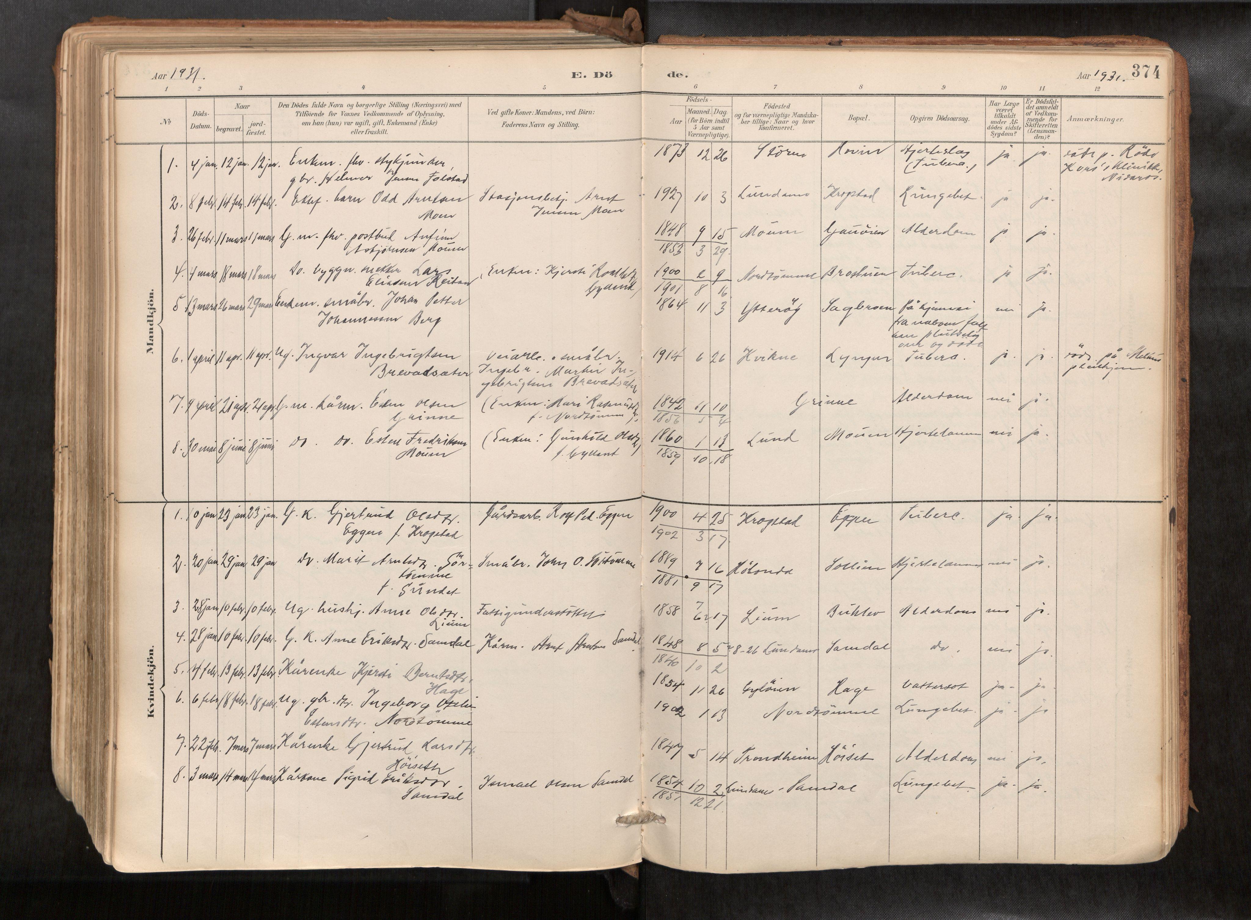 SAT, Ministerialprotokoller, klokkerbøker og fødselsregistre - Sør-Trøndelag, 692/L1105b: Ministerialbok nr. 692A06, 1891-1934, s. 374