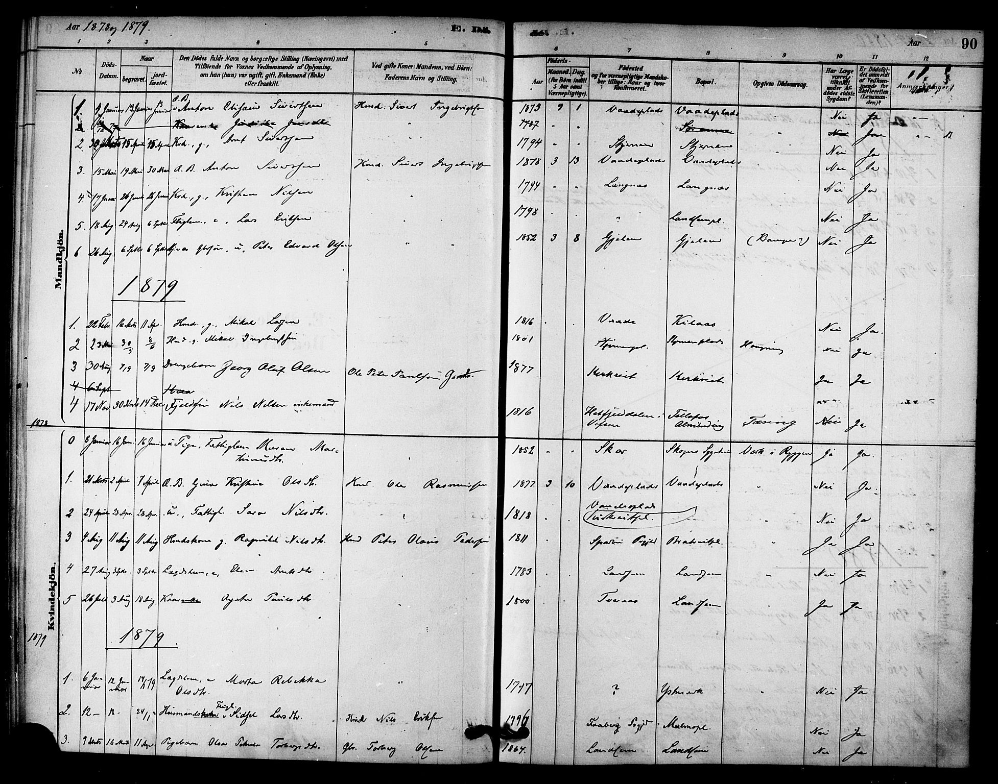 SAT, Ministerialprotokoller, klokkerbøker og fødselsregistre - Nord-Trøndelag, 745/L0429: Ministerialbok nr. 745A01, 1878-1894, s. 90