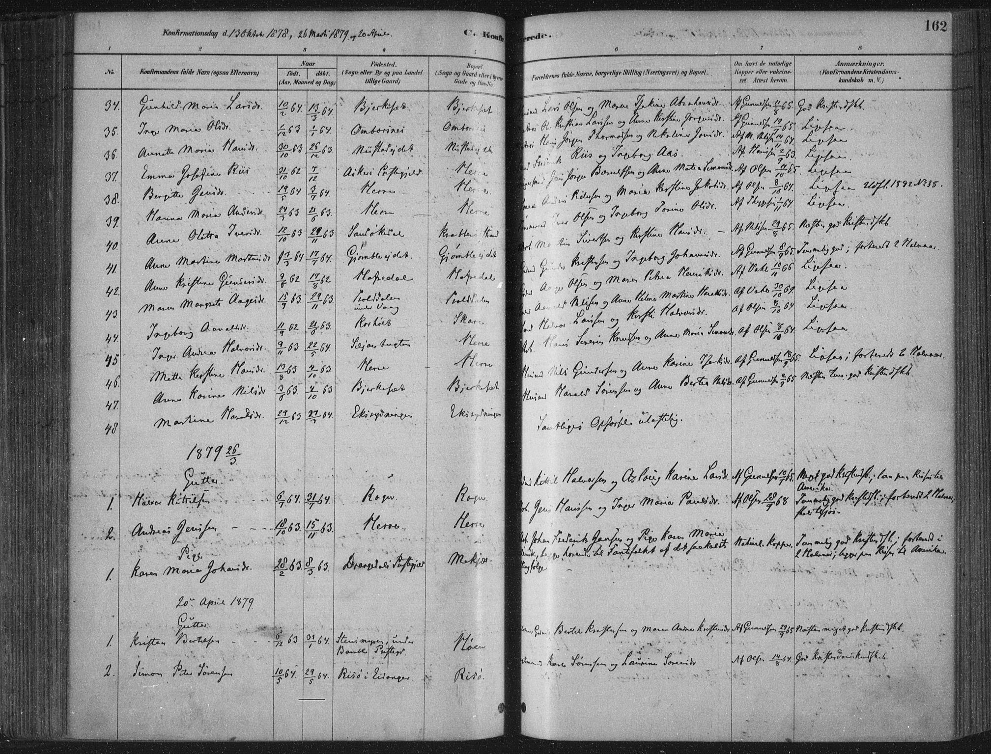 SAKO, Bamble kirkebøker, F/Fa/L0007: Ministerialbok nr. I 7, 1878-1888, s. 162