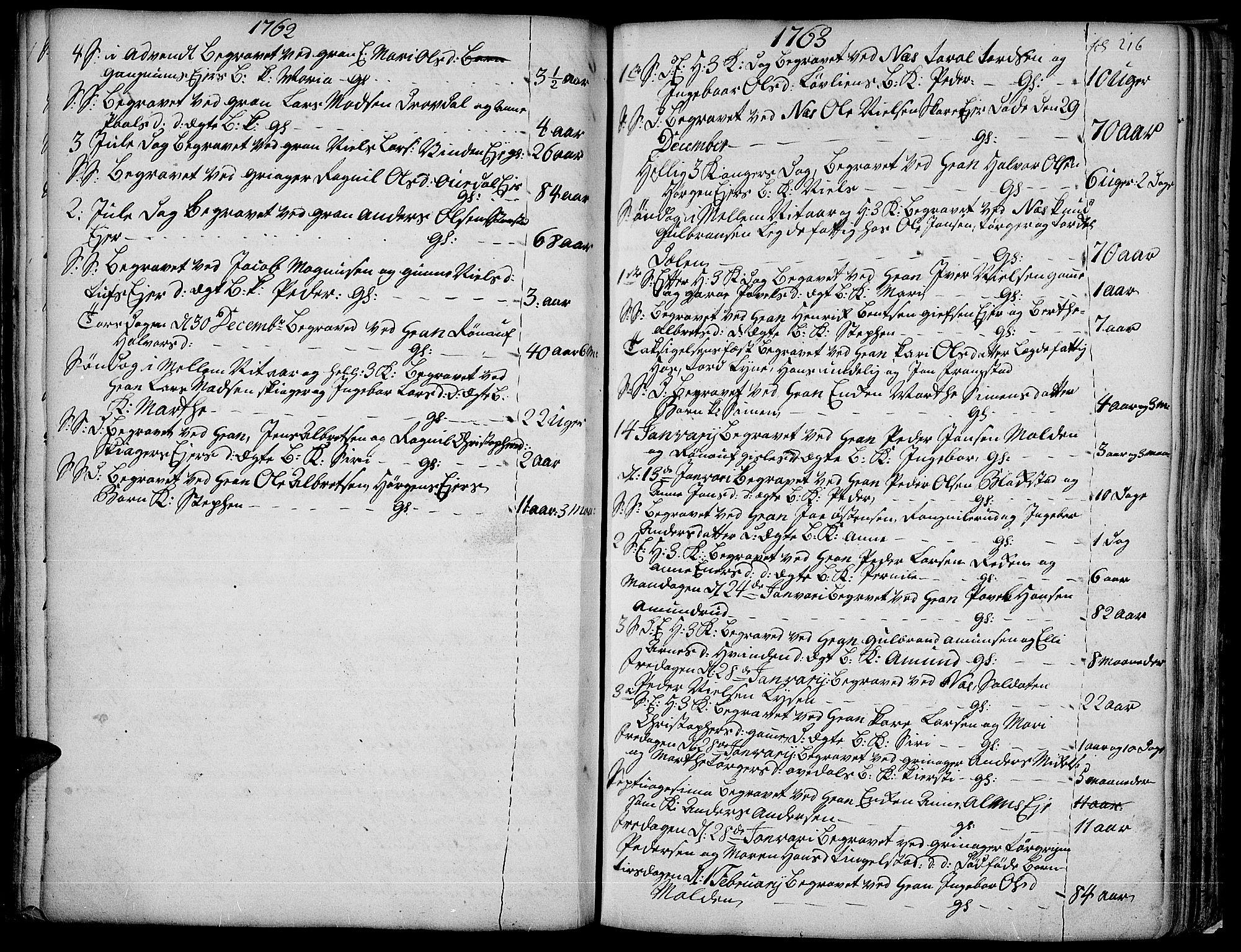 SAH, Gran prestekontor, Ministerialbok nr. 4, 1759-1775, s. 216