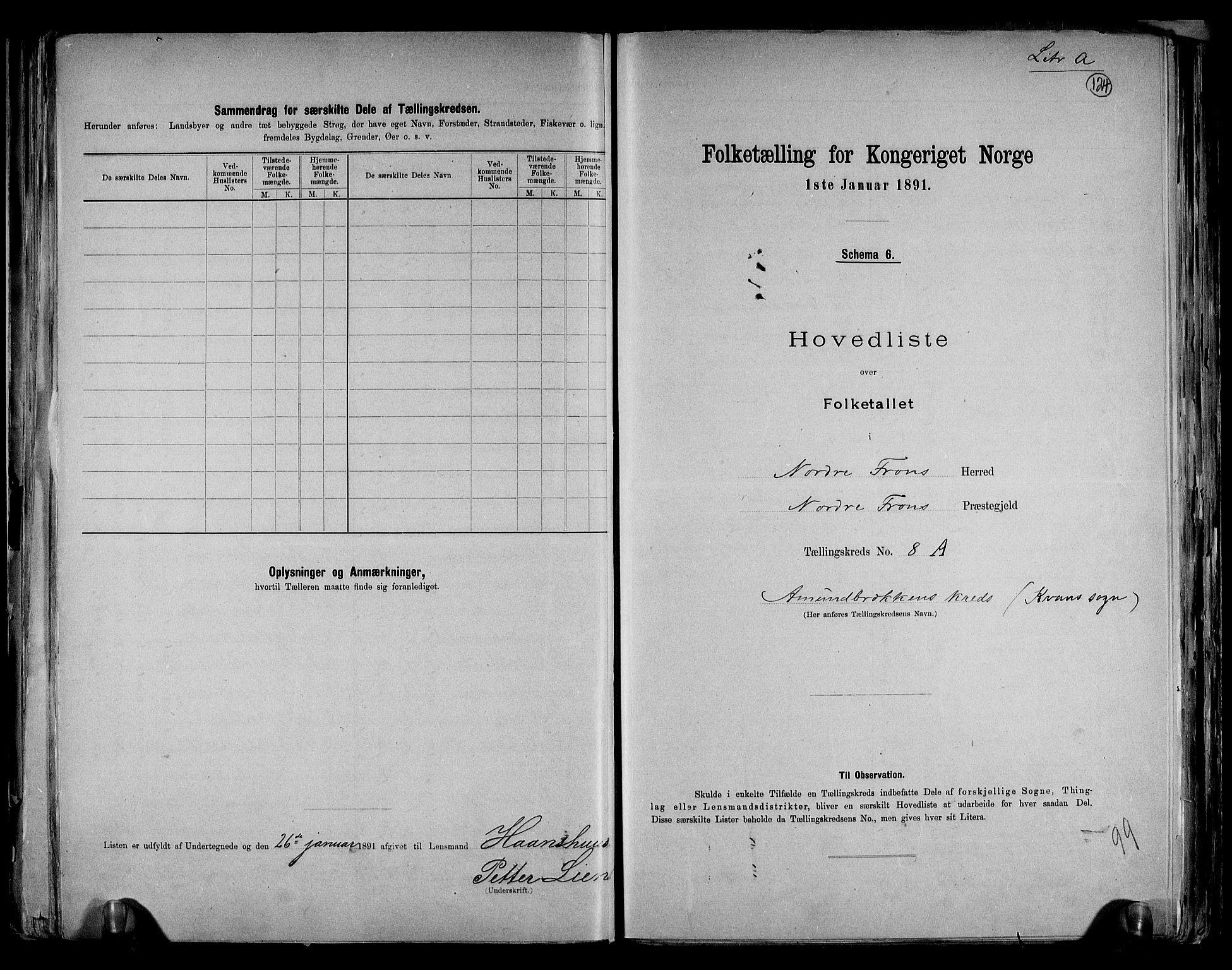 RA, Folketelling 1891 for 0518 Nord-Fron herred, 1891, s. 19
