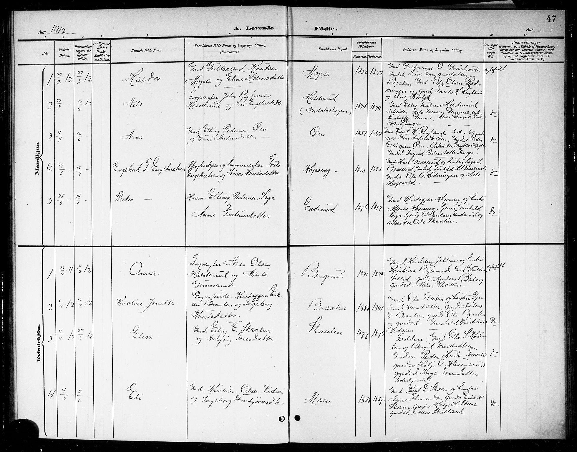 SAKO, Sigdal kirkebøker, G/Gb/L0003: Klokkerbok nr. II 3, 1901-1916, s. 47