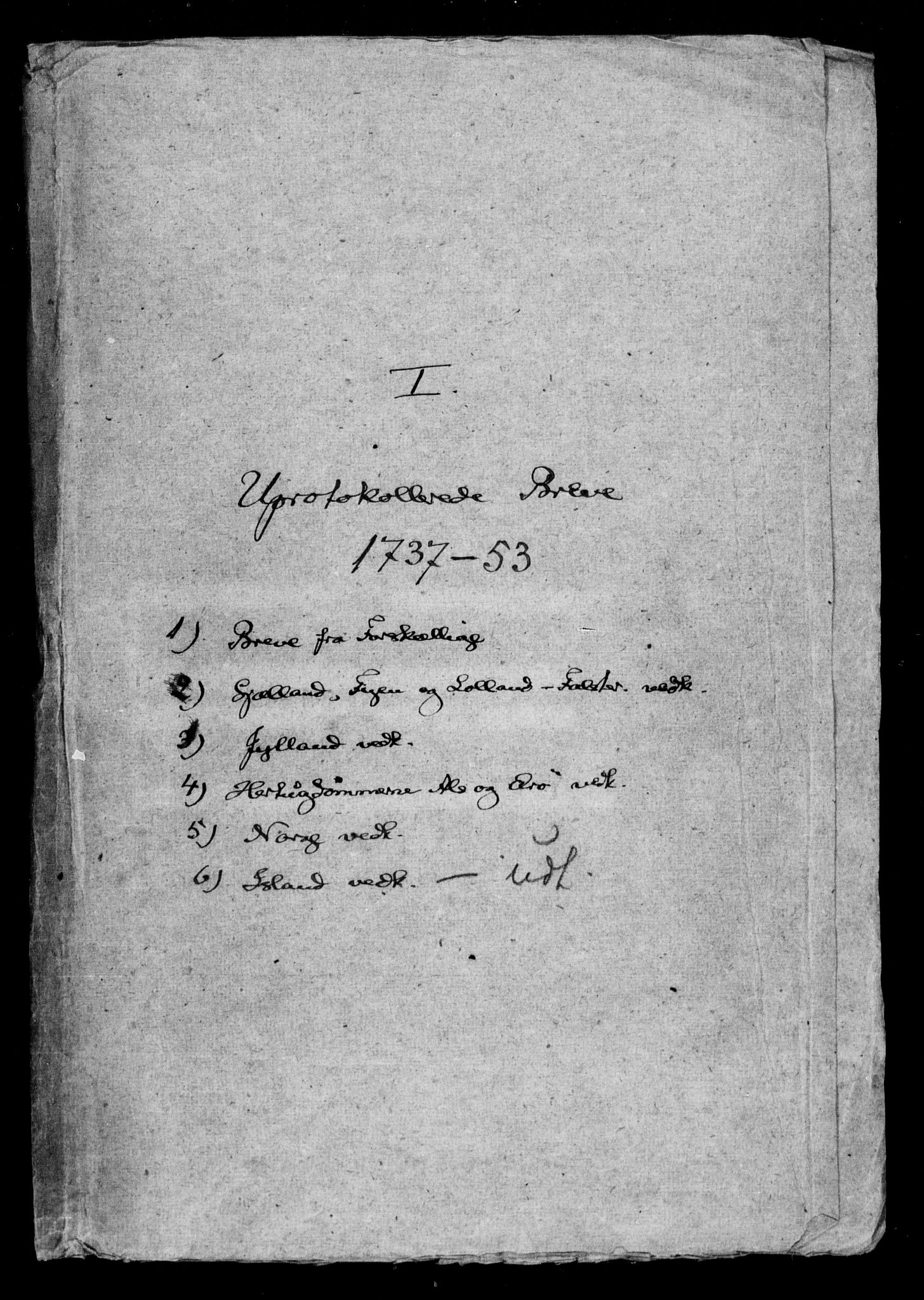 DRA, Generalkirkeinspektionskollegiet, F4-07/F4-07: Uprotokollerede breve og diverse dokumenter, 1737-1753