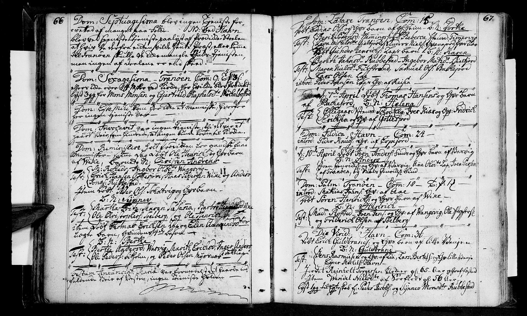SATØ, Tranøy sokneprestkontor, I/Ia/Iaa/L0001kirke: Ministerialbok nr. 1, 1757-1773, s. 66-67