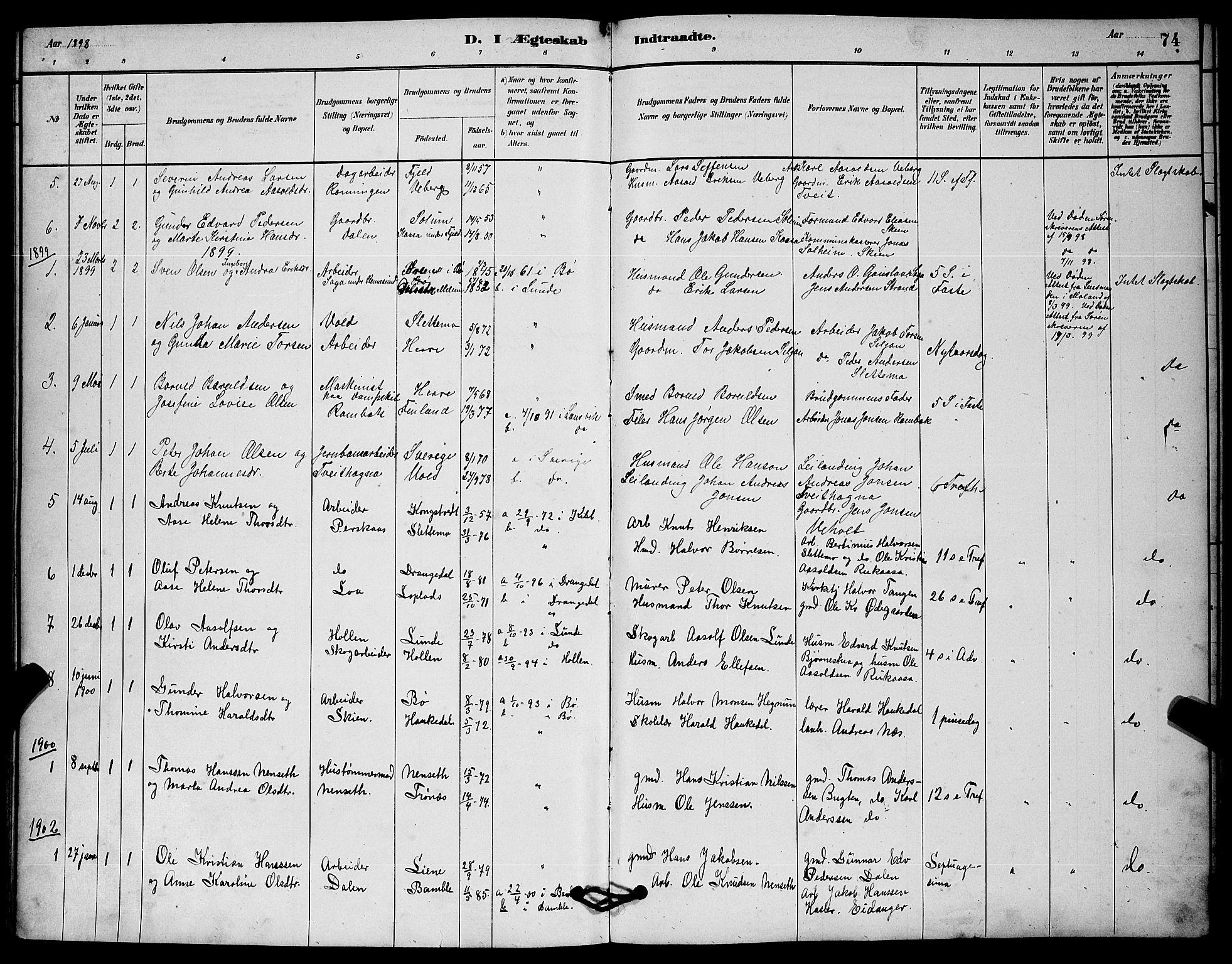 SAKO, Solum kirkebøker, G/Gc/L0001: Klokkerbok nr. III 1, 1880-1902, s. 74