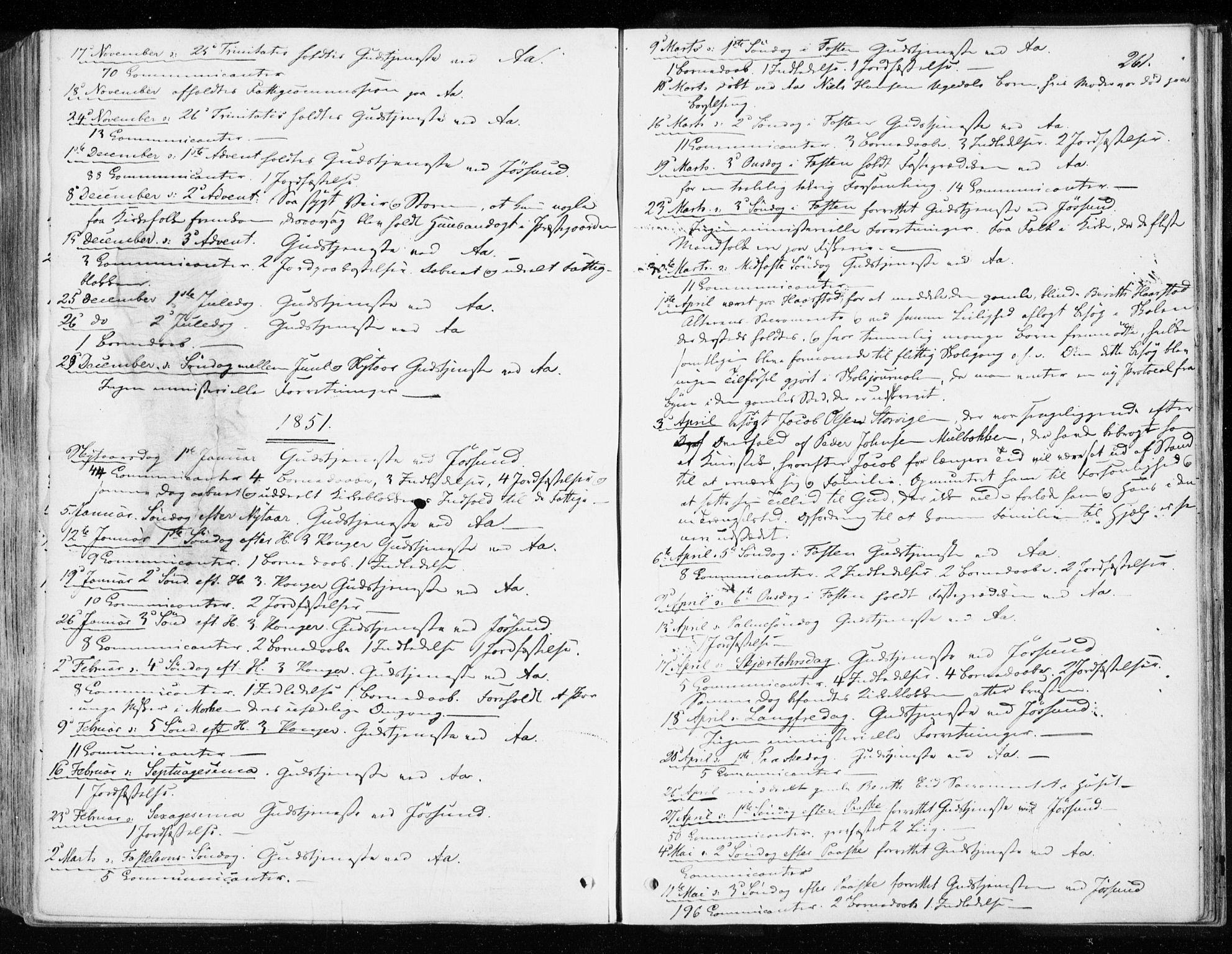 SAT, Ministerialprotokoller, klokkerbøker og fødselsregistre - Sør-Trøndelag, 655/L0677: Ministerialbok nr. 655A06, 1847-1860, s. 261