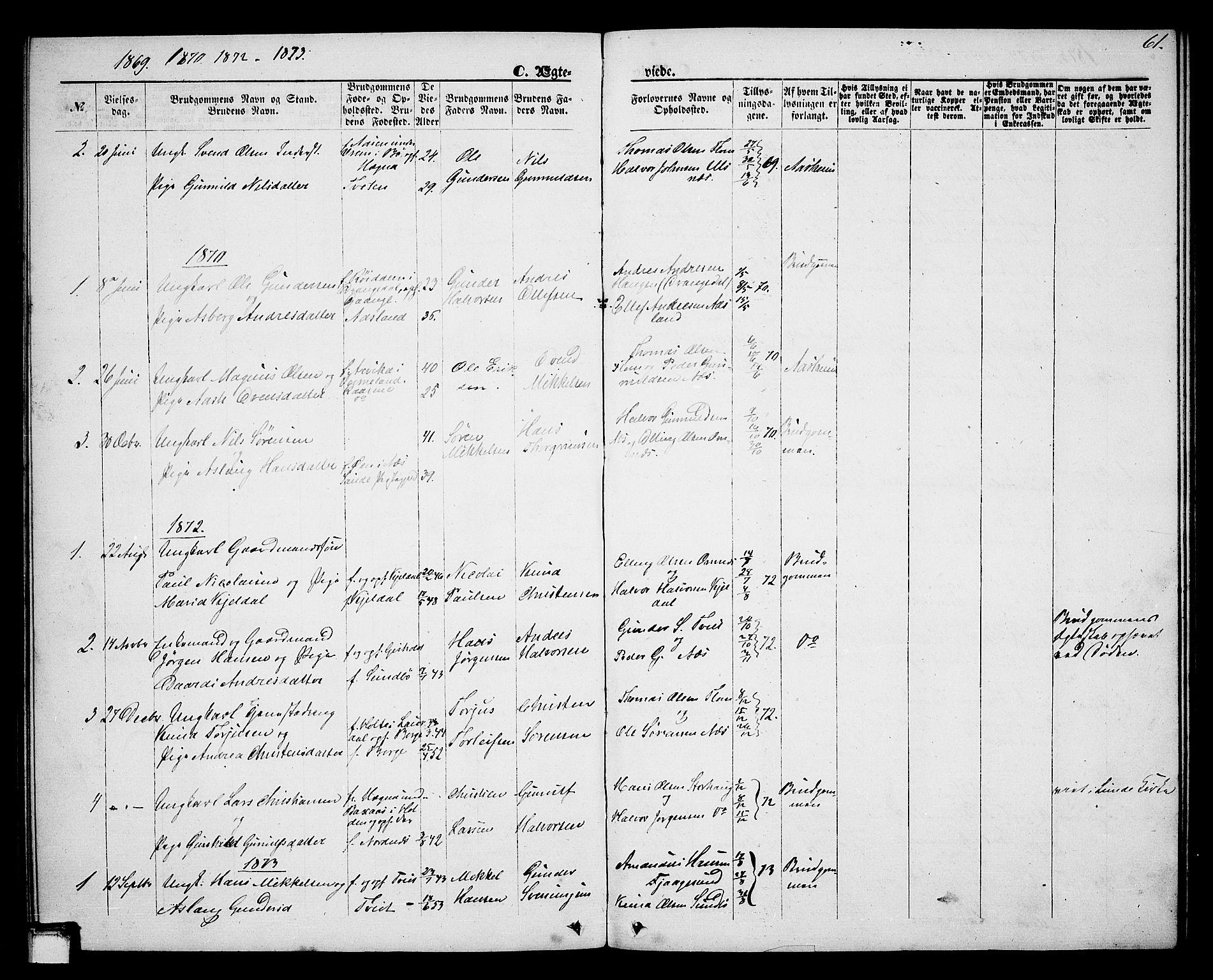 SAKO, Lunde kirkebøker, G/Gb/L0001: Klokkerbok nr. II 1, 1866-1887, s. 61