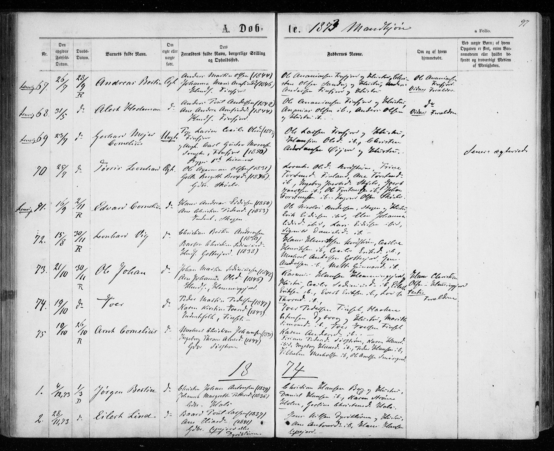 SATØ, Tranøy sokneprestkontor, I/Ia/Iaa/L0008kirke: Ministerialbok nr. 8, 1867-1877, s. 97