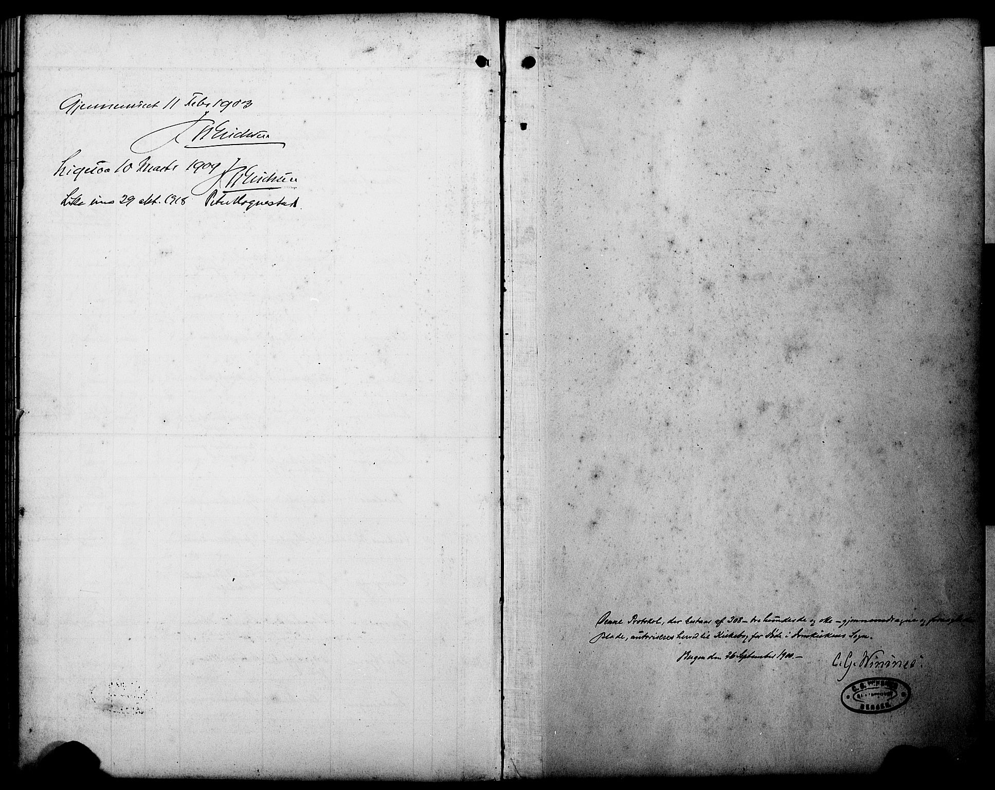 SAB, Domkirken Sokneprestembete, H/Hab/L0042: Klokkerbok nr. E 6, 1900-1929